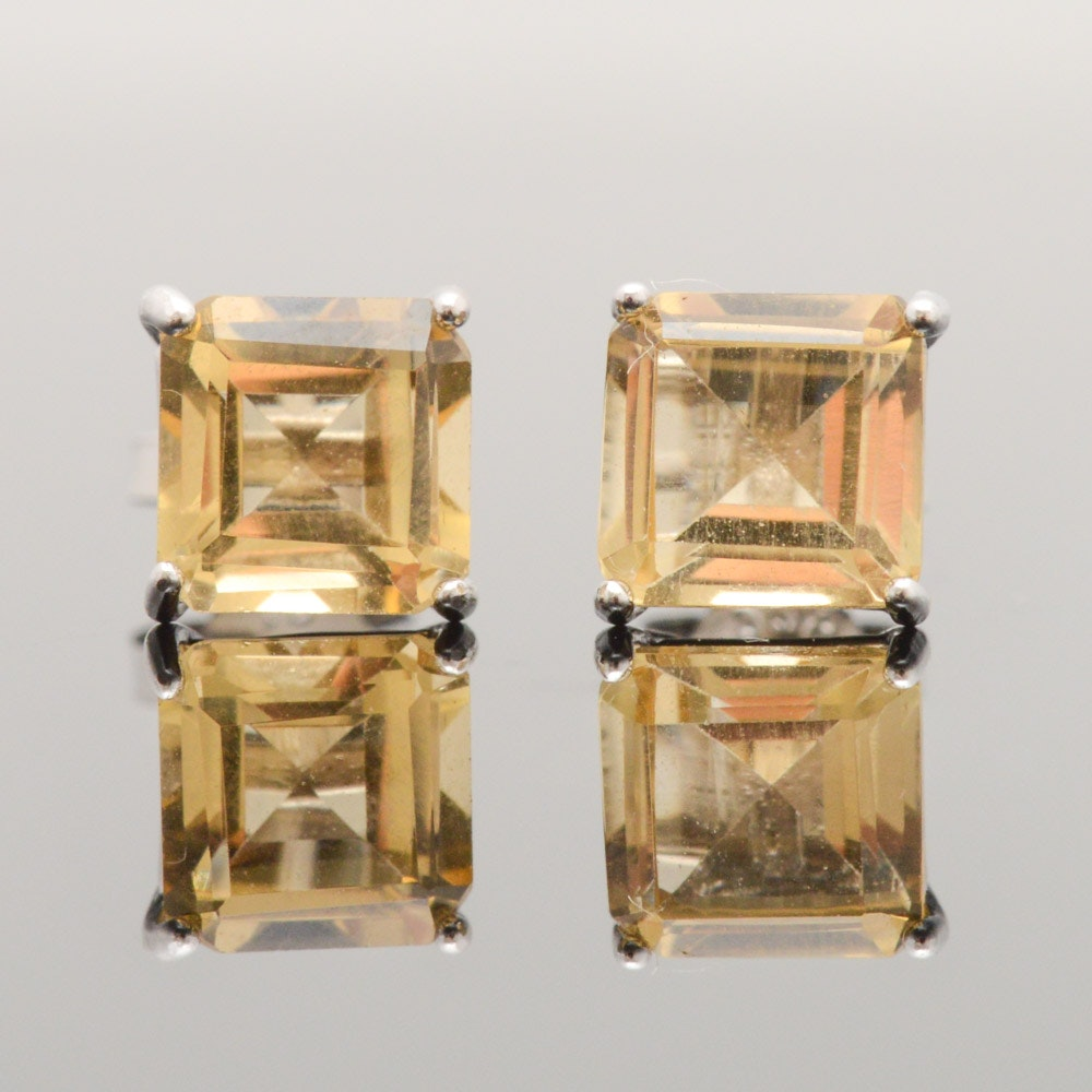 Sterling Silver Quartz Stud Earrings