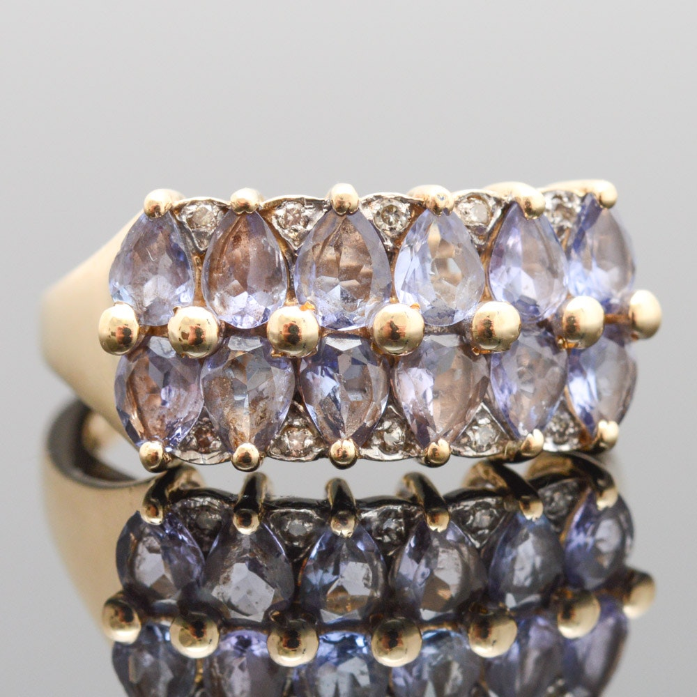 14K Yellow Gold Diamond Tanzanite Ring