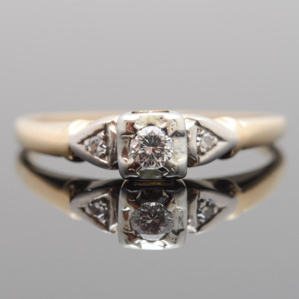 18K and 14K Yellow Gold Diamond Ring