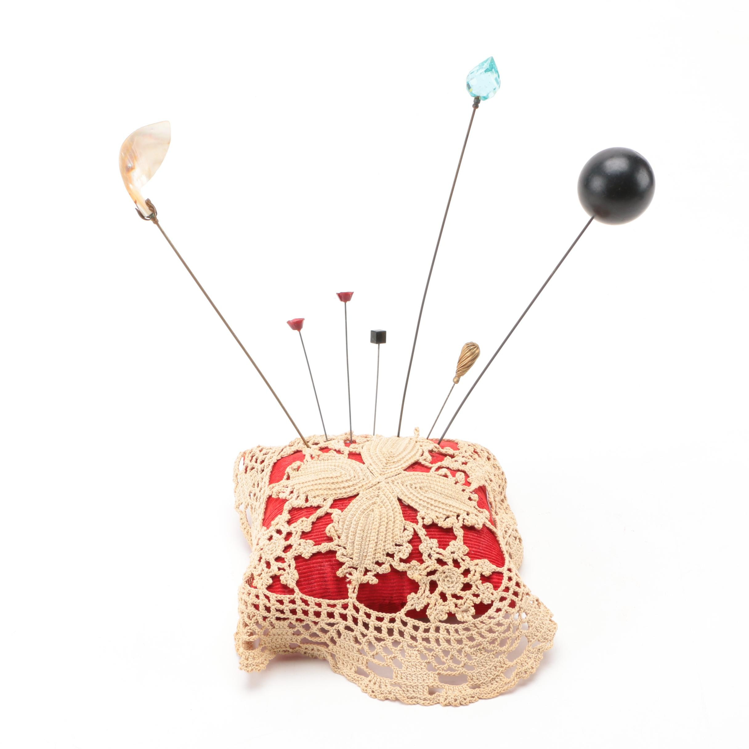 Collection of Hat Pins and a Pin Cushion