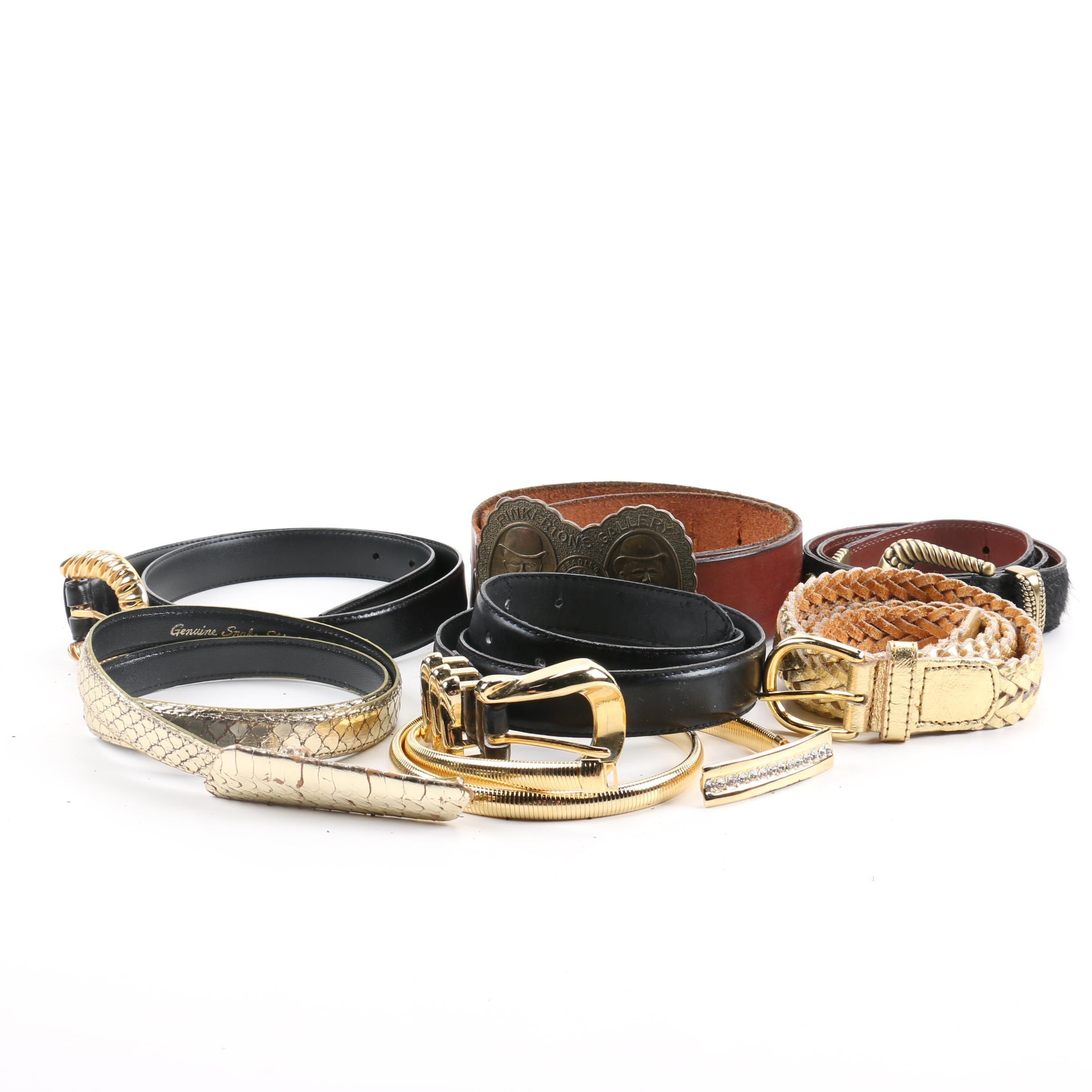 Assortment of Belts Including Snakeskin