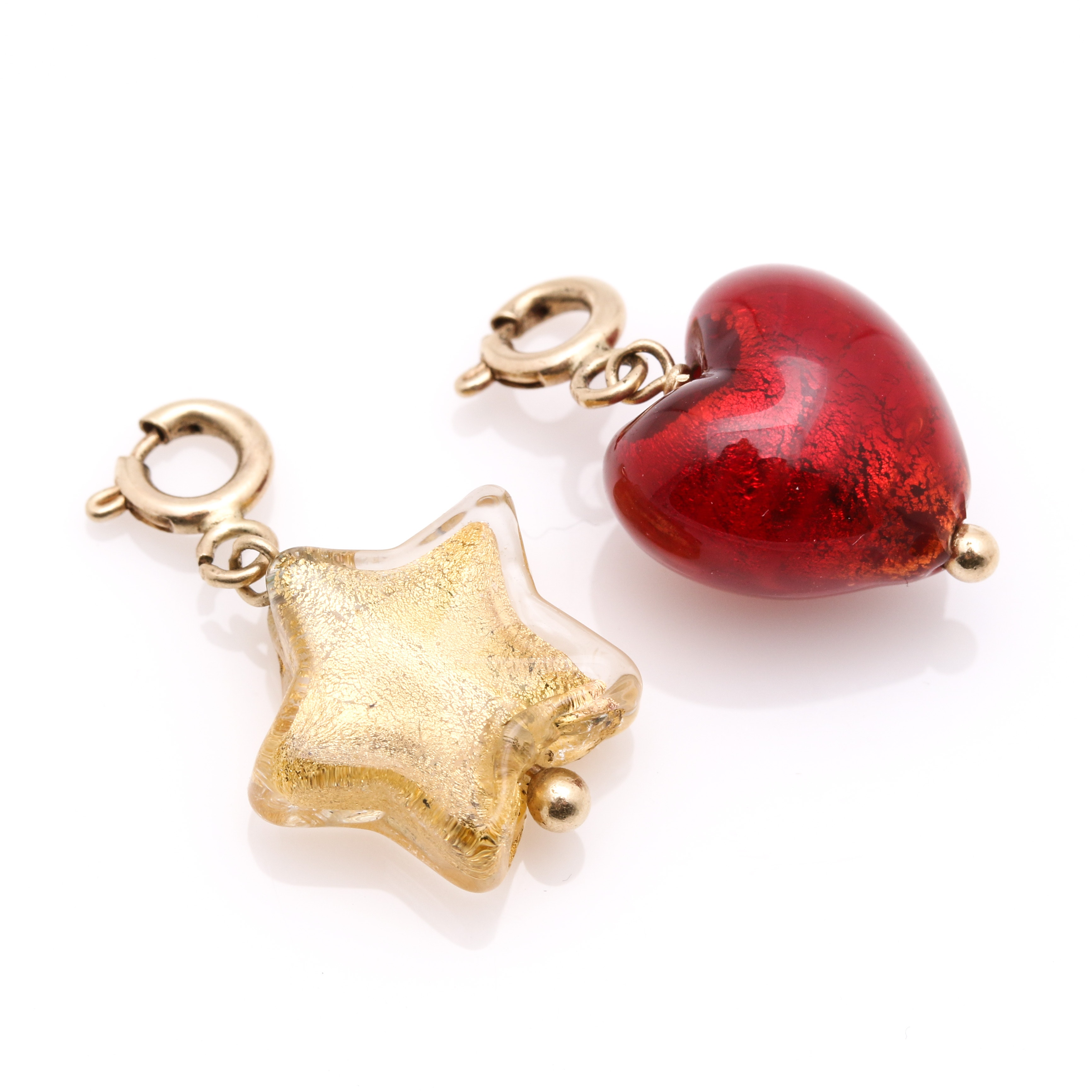 Selection of Gold Foiled Glass Bead Charms With 14K Yellow Gold Findings