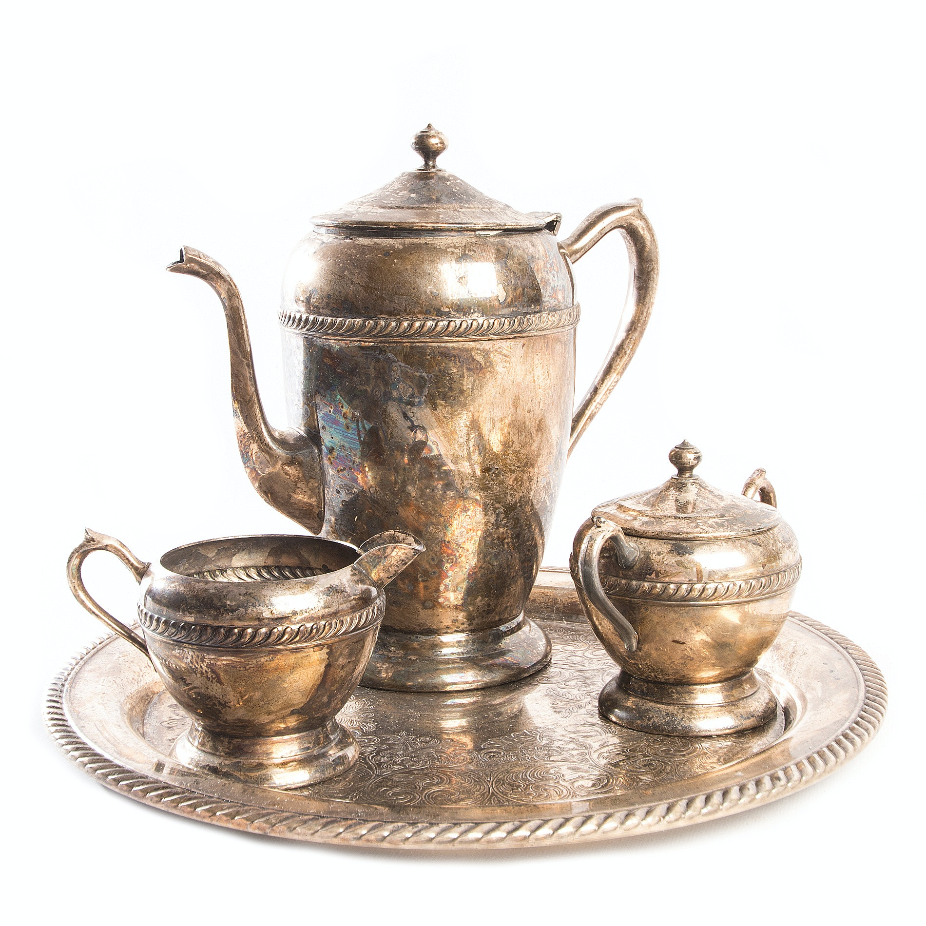 Vintage Plated Silver Coffee Set by F.B. Rogers