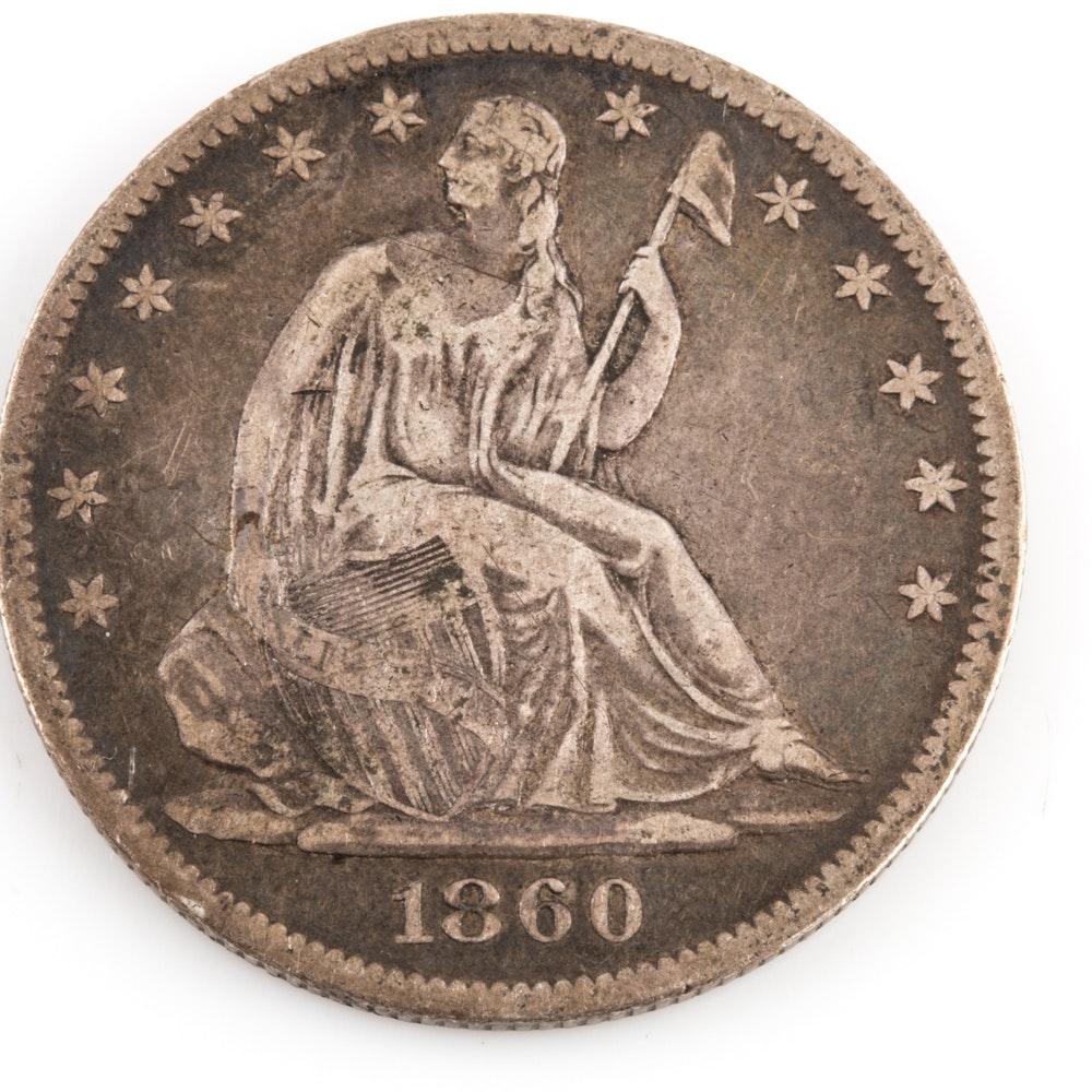 1860 O Seated Liberty Silver Half Dollar