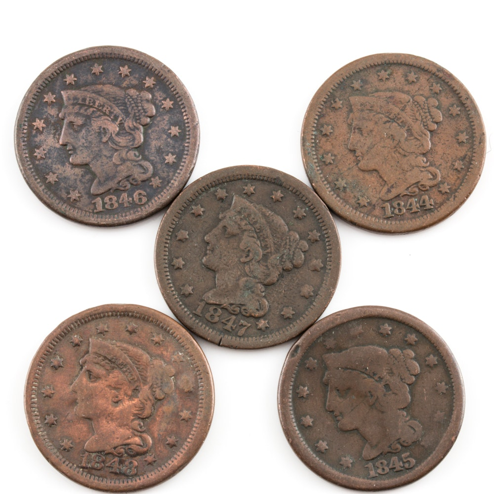 Group of 5 Various U.S. Large Cents Including an 1846