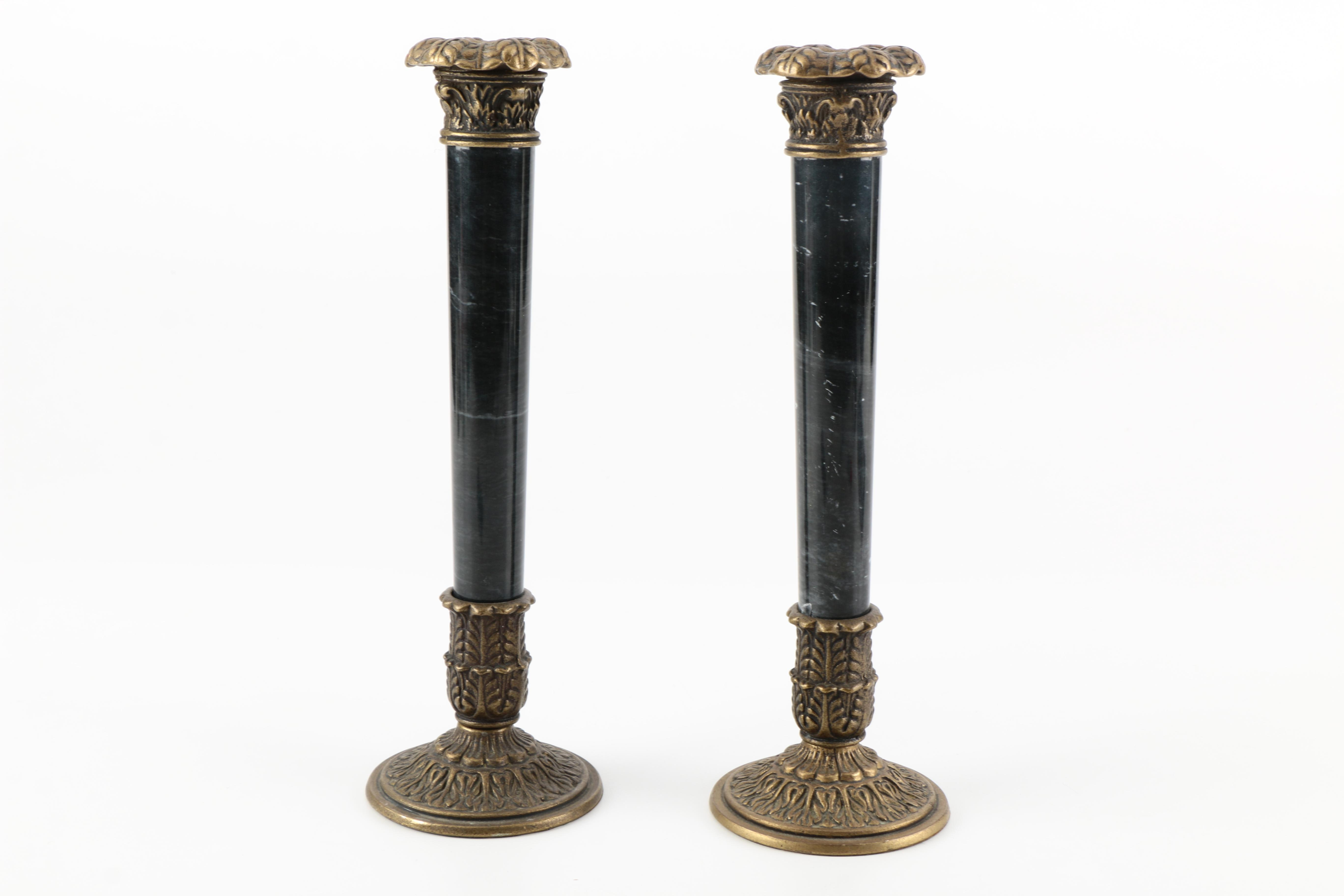 Brass and Marble Candlesticks
