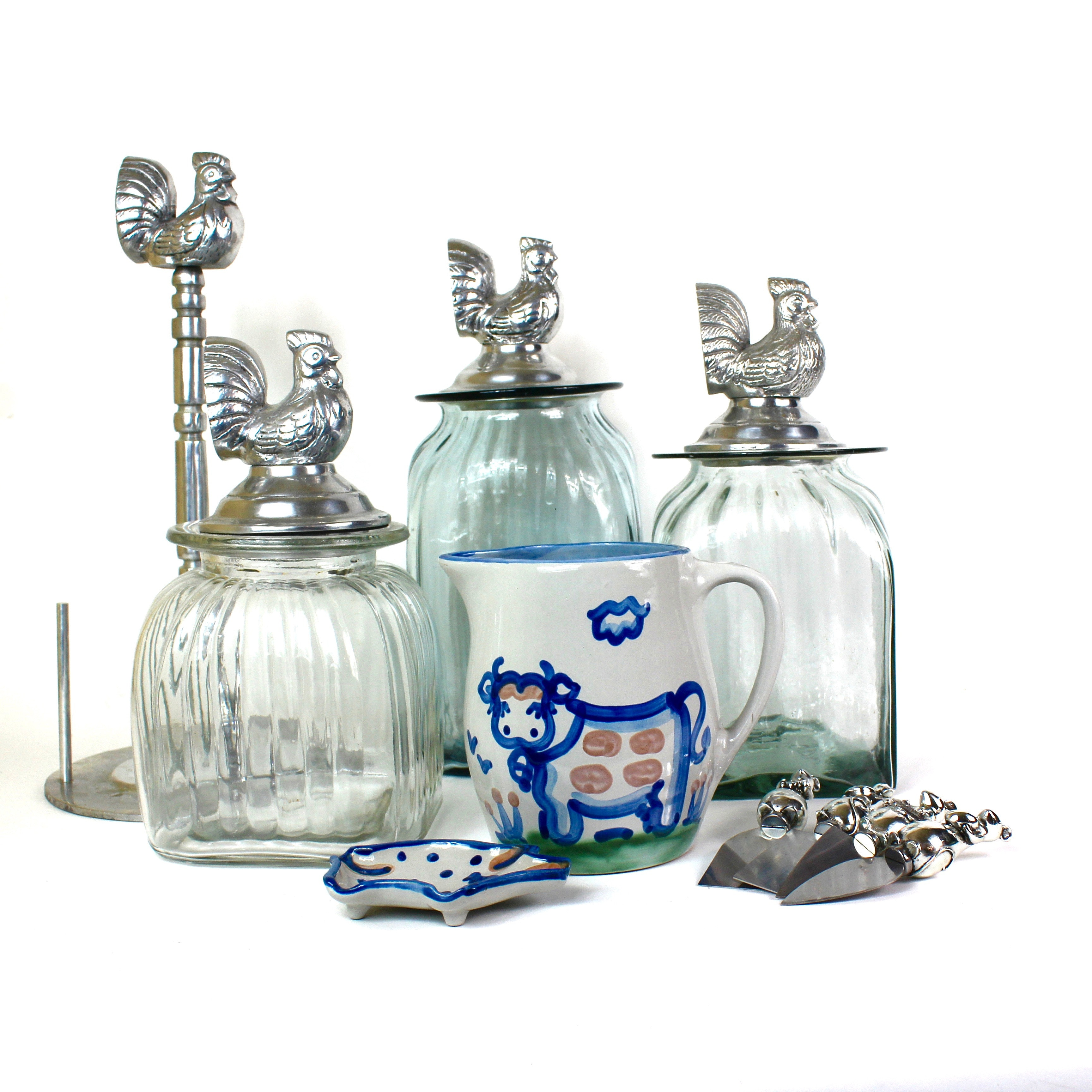 Blown Glass Chicken Canisters with M.A. Hadley Pottery