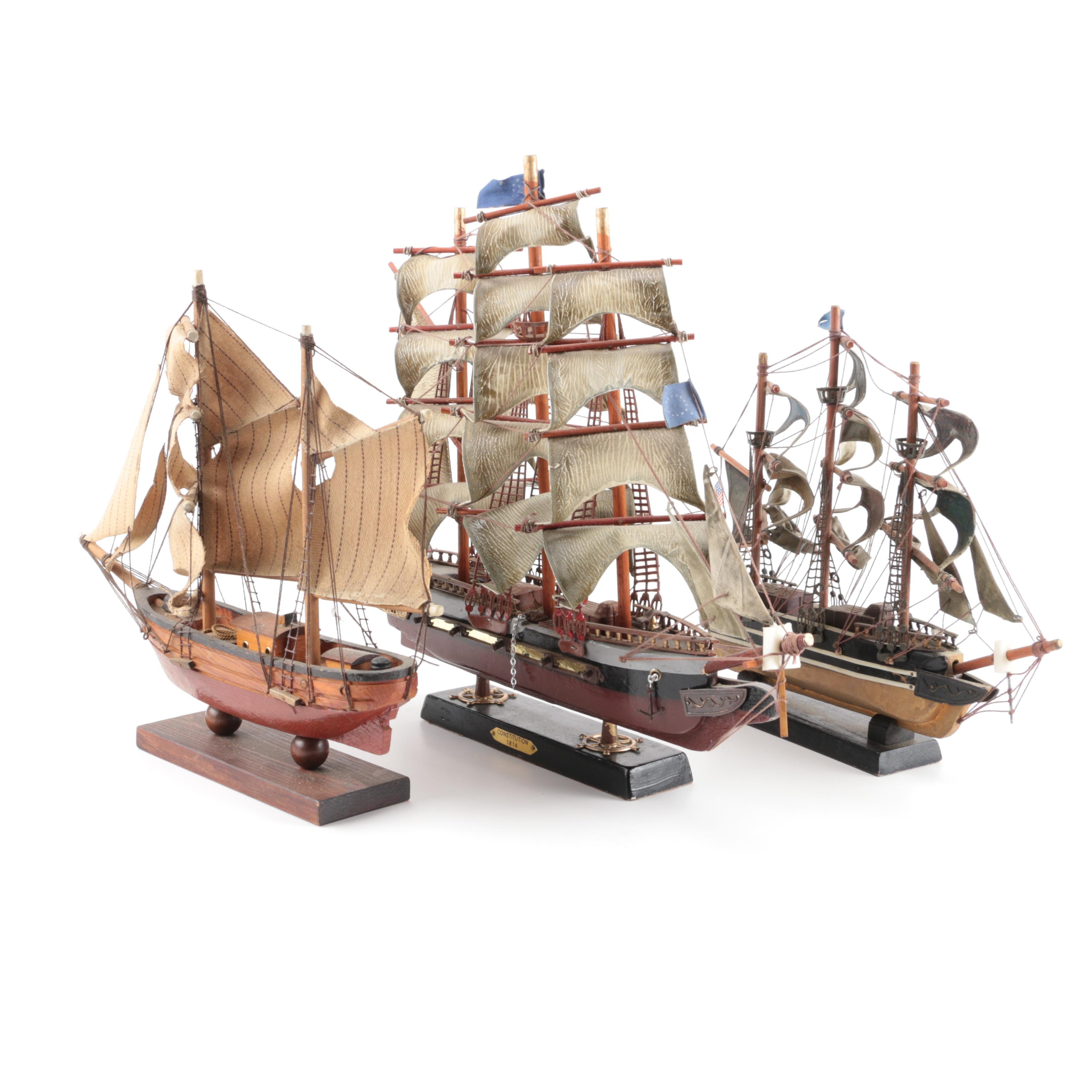 """Model Ships Including USS """"Constitution"""" and """"Red Jacket"""""""