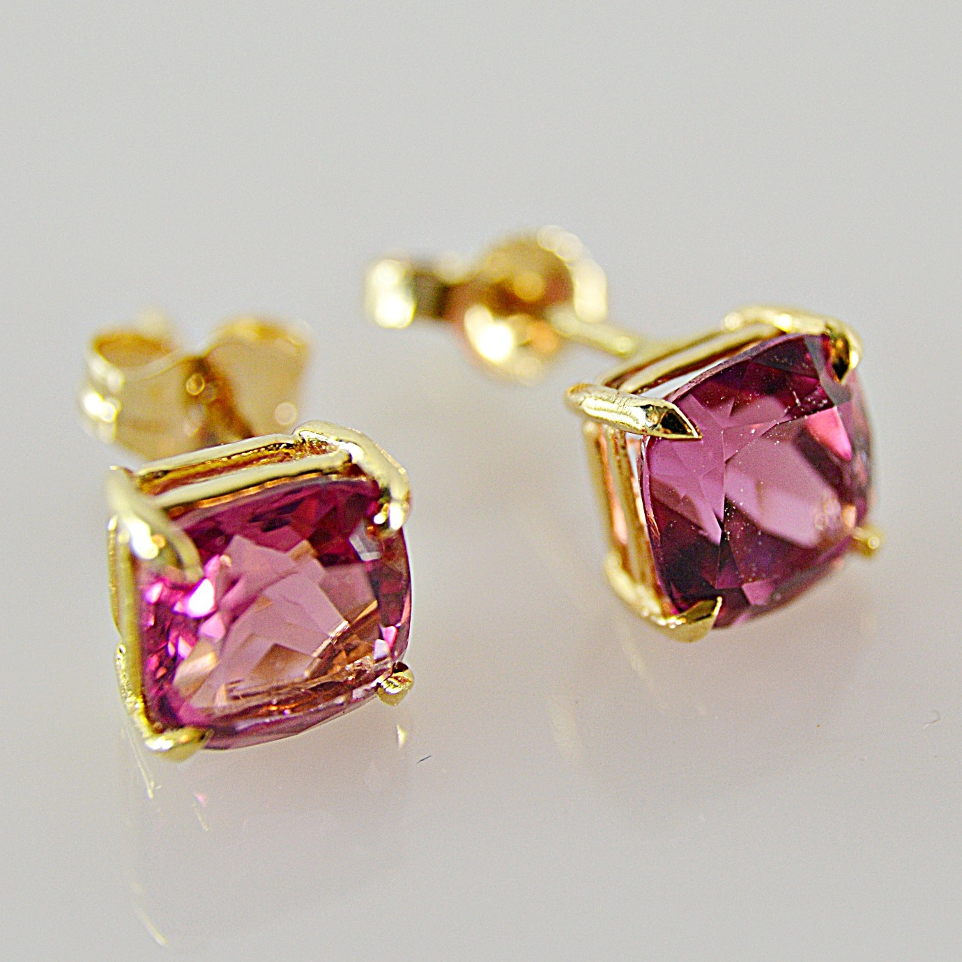 Pair of 14K Yellow Gold and Tourmaline Stud Pierced Earrings