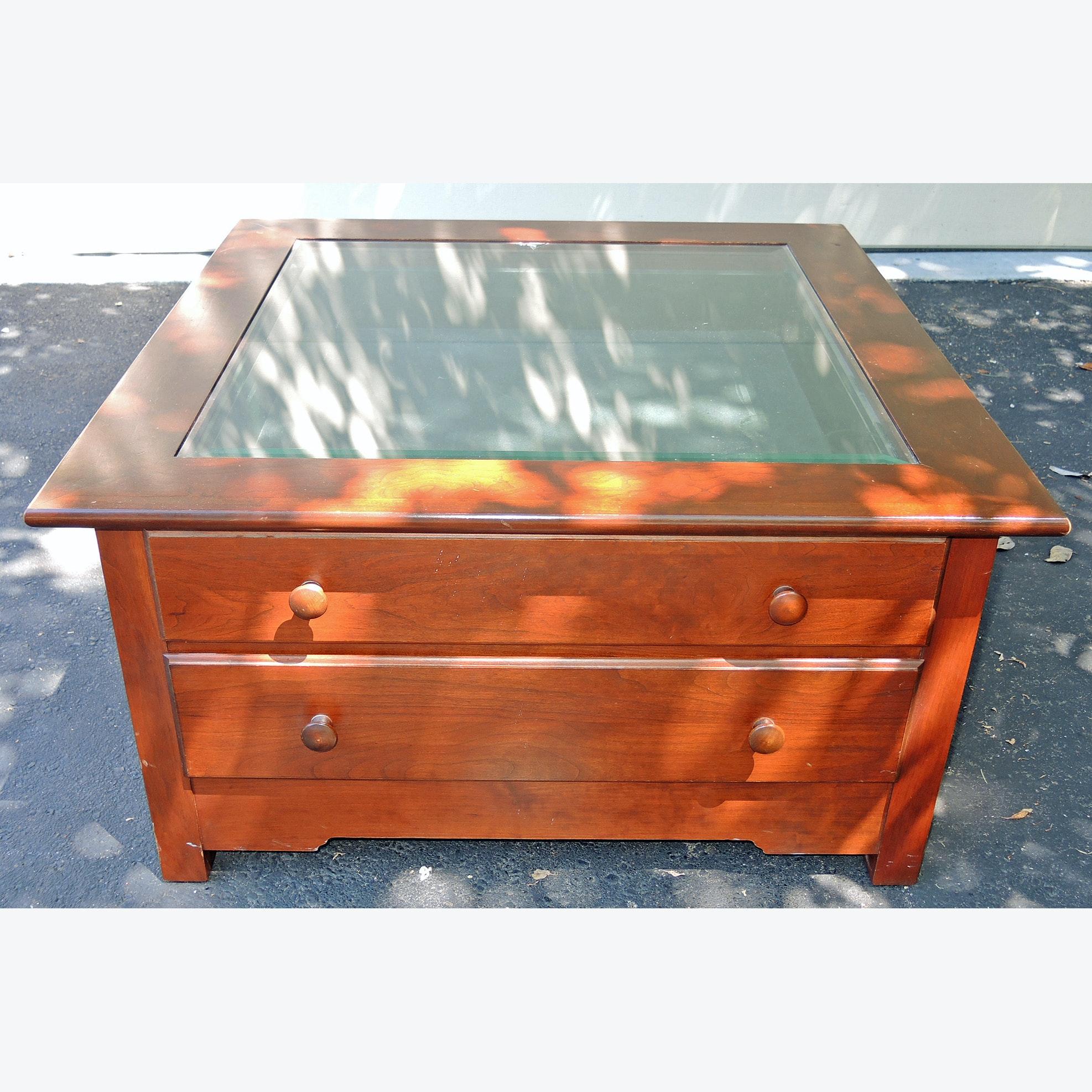 Glass Top Shadow Box Coffee Table