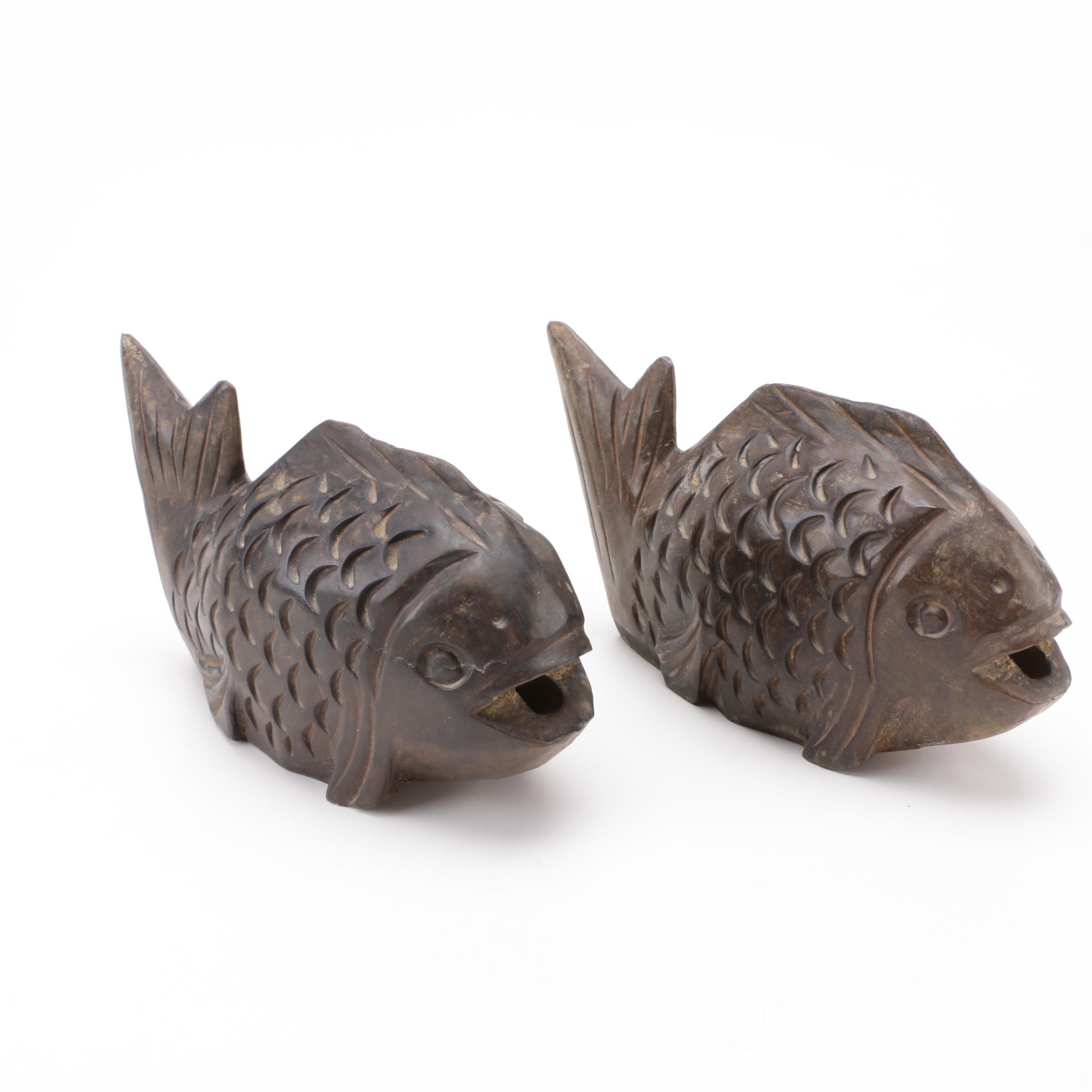 Pair of Iron Alloy Fish Figurines