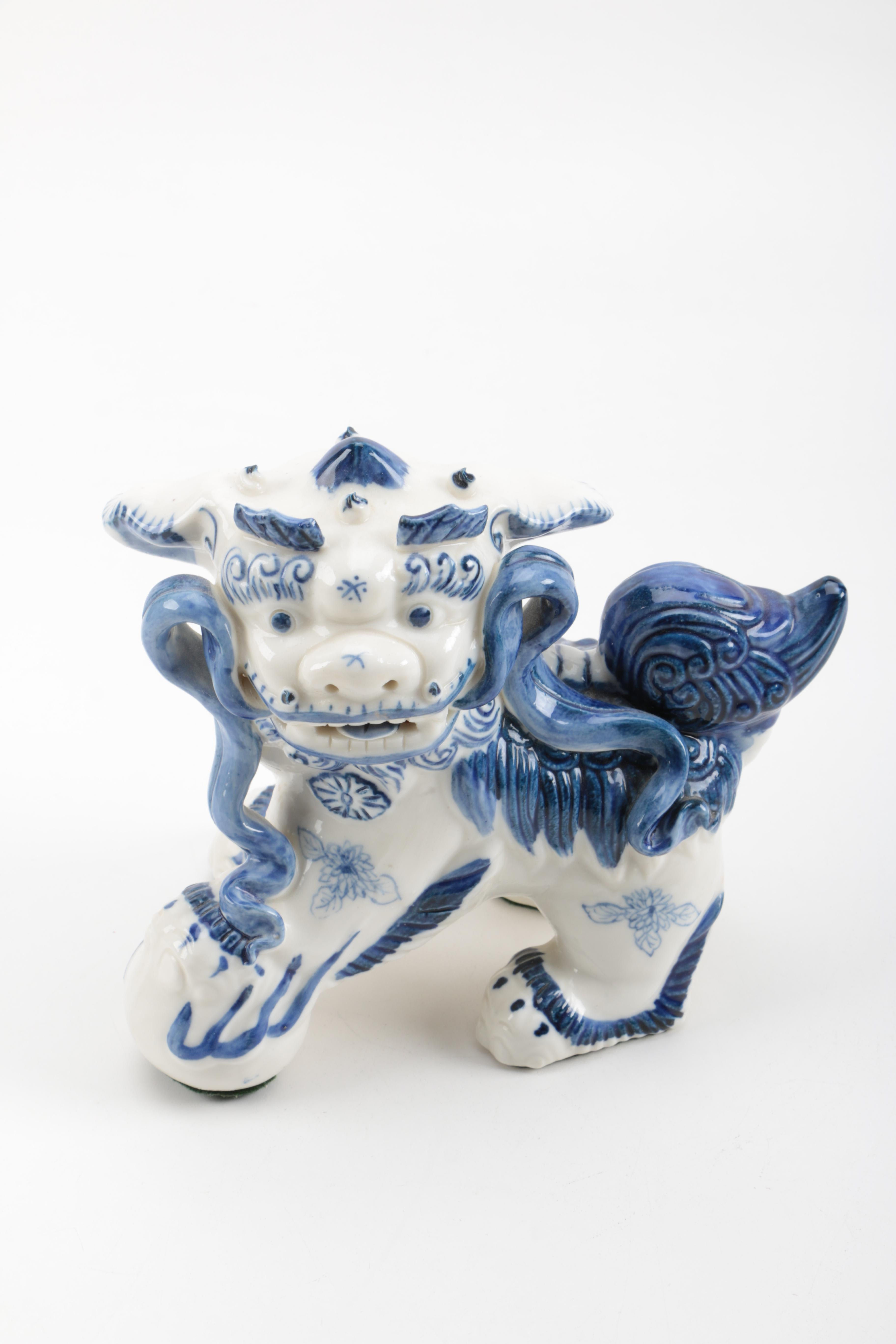 White and Blue Ceramic Guardian Lion