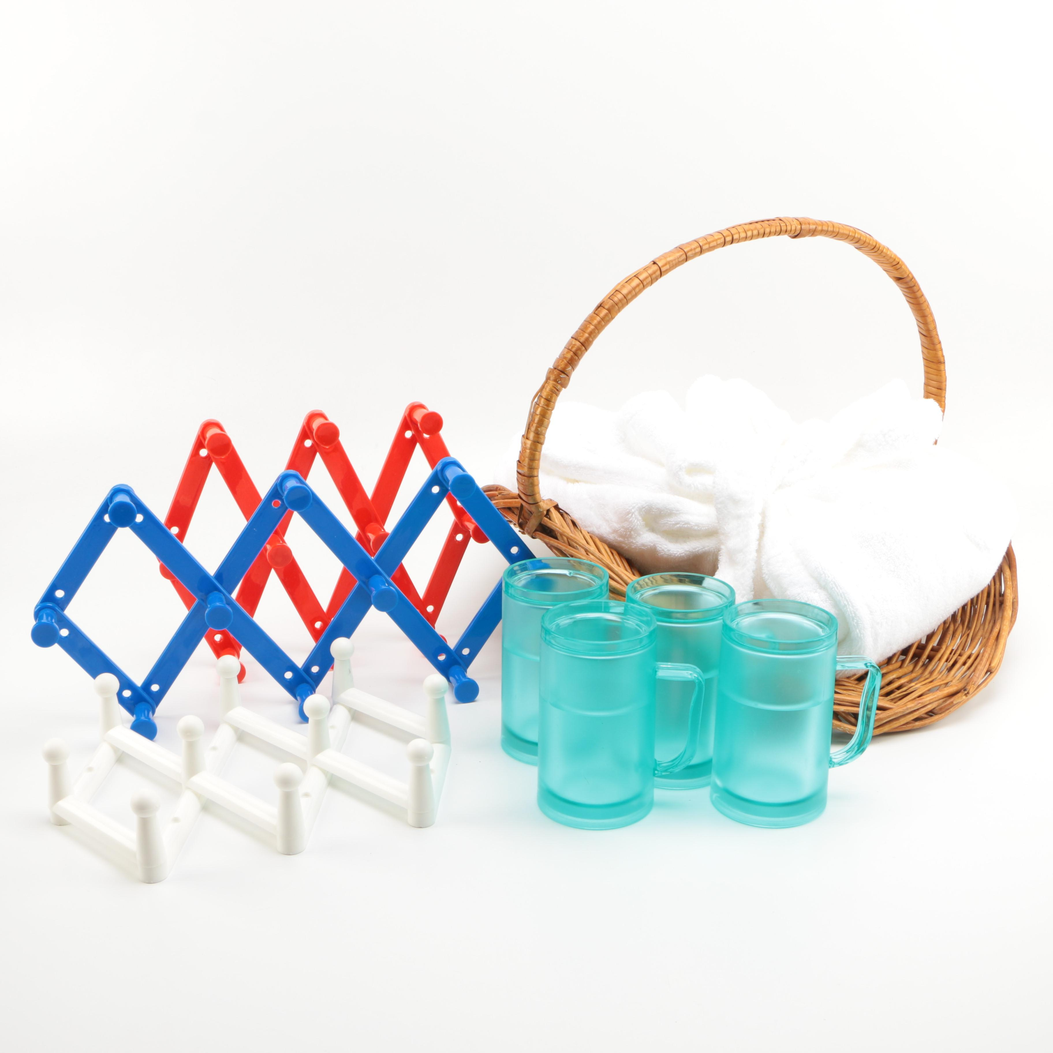 Robe, Basket, Cups, and Wall Hooks