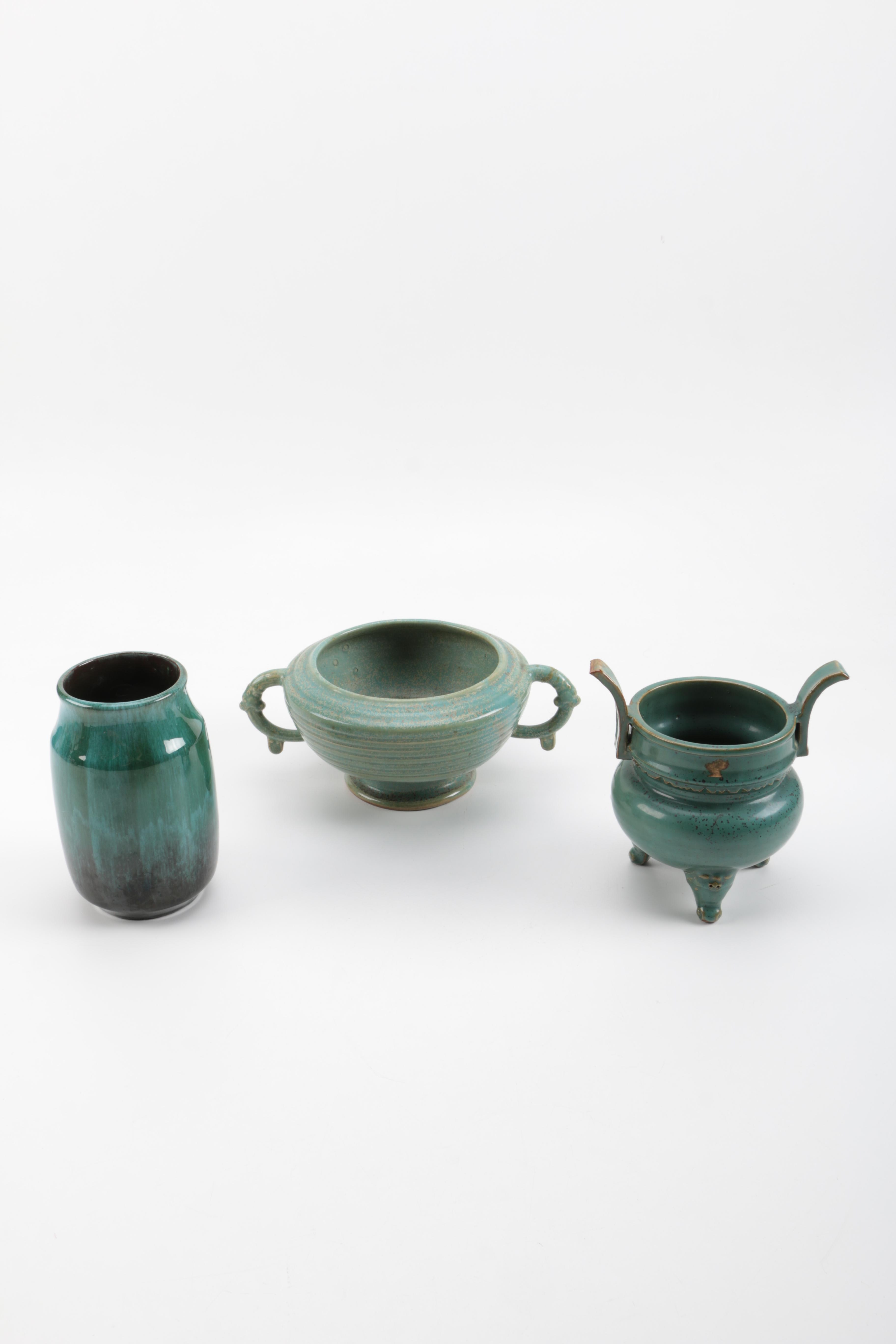 Selection of Green East Asian Pottery Pieces