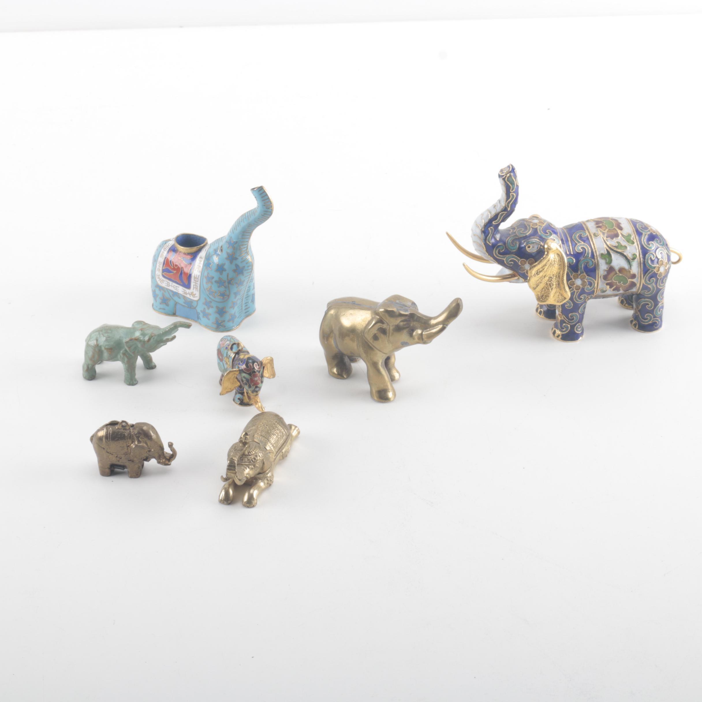Brass and Enamel Elephant Figurines