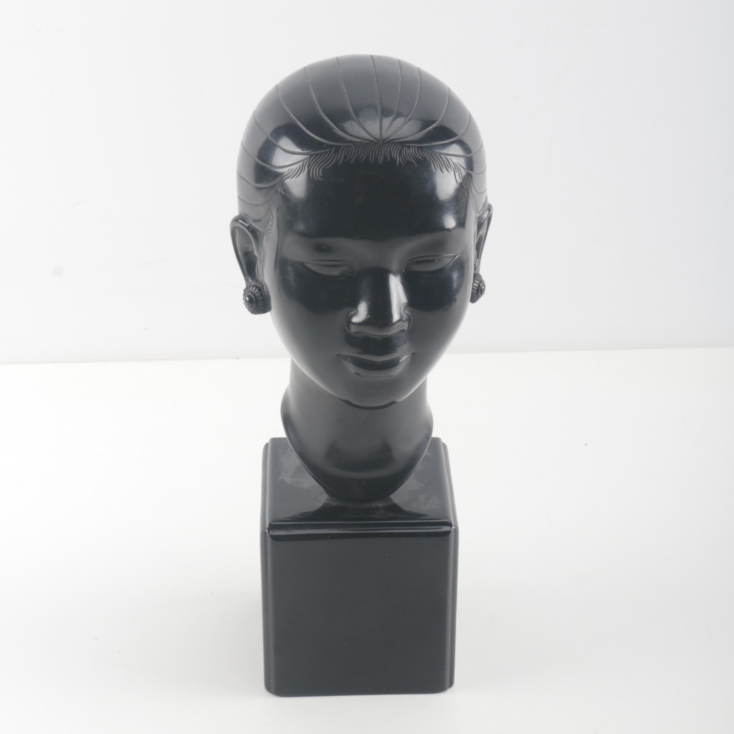 East Asian Inspired Resin Bust of a Woman