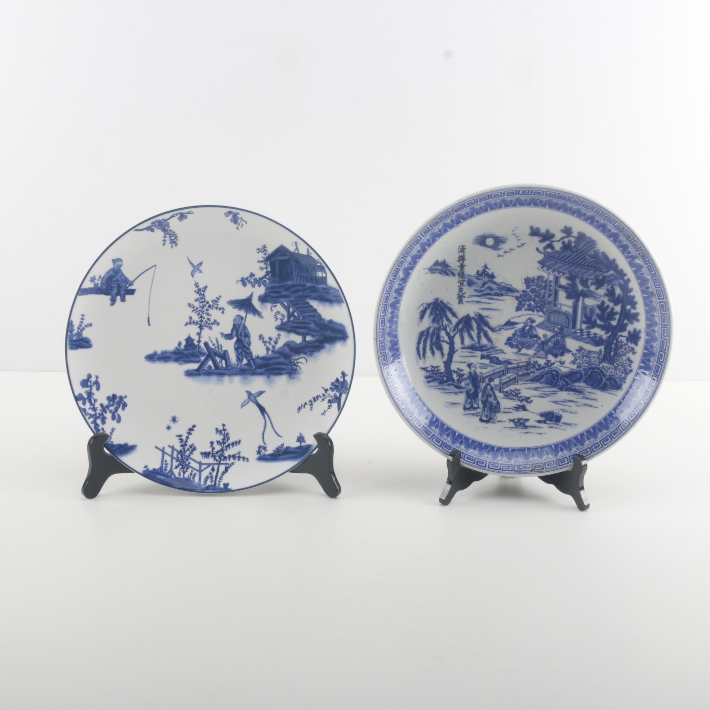 Blue and White Floral Ceramic Decorative Plates with Stands