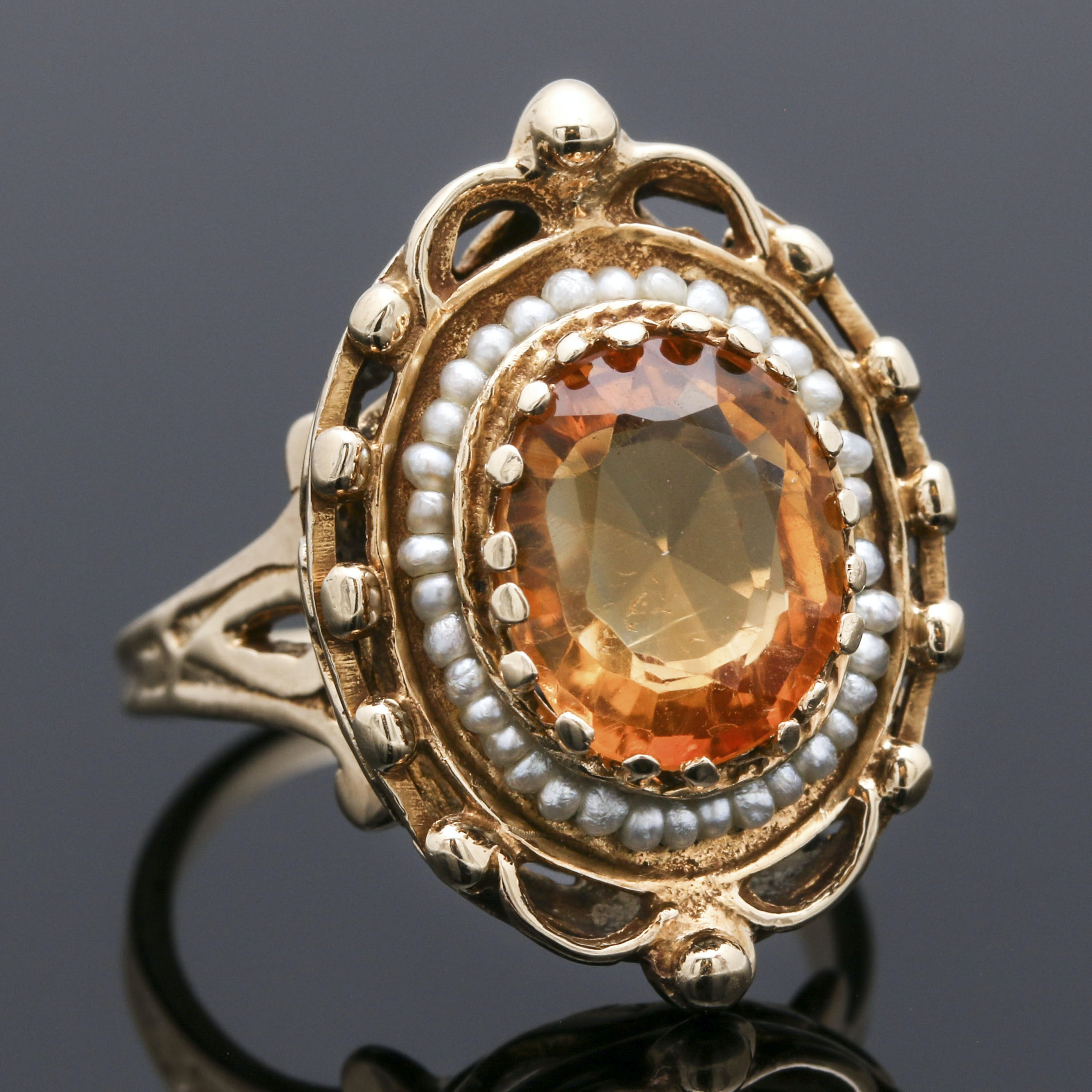 Victorian Revival 14K Yellow Gold Citrine and Seed Pearl Ring