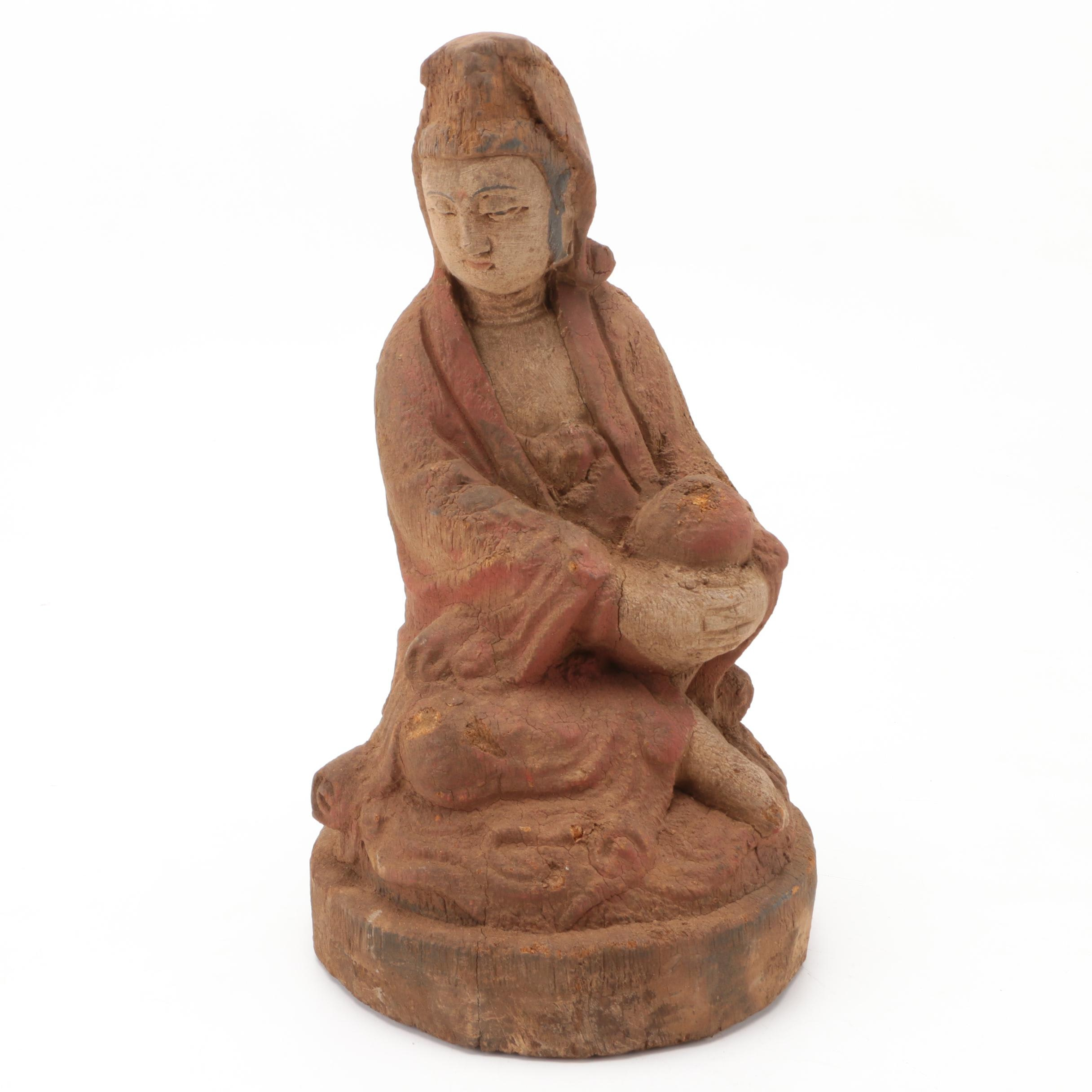 Carved Wooden Guanyin Figurine