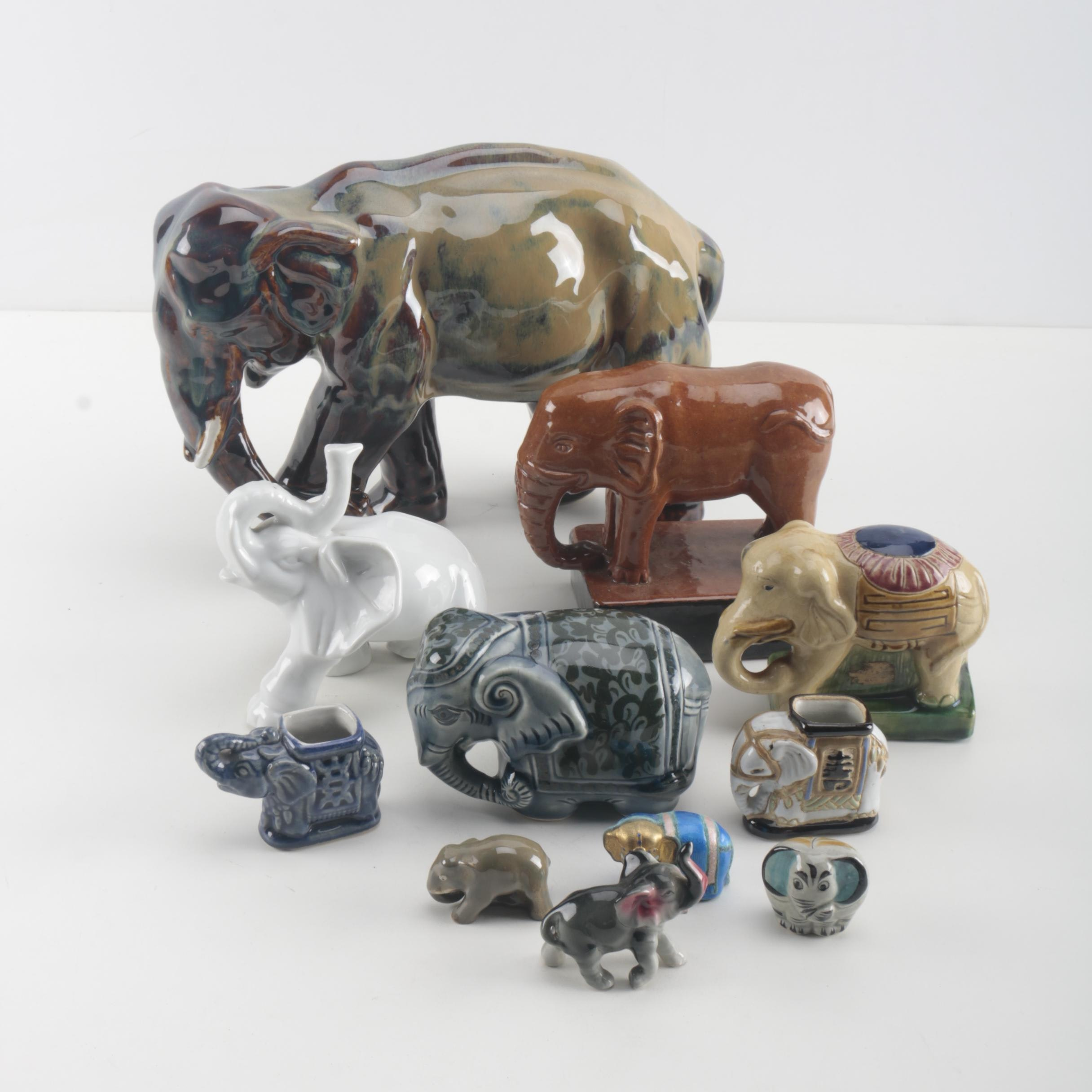 Ceramic Carved Elephant Figurines