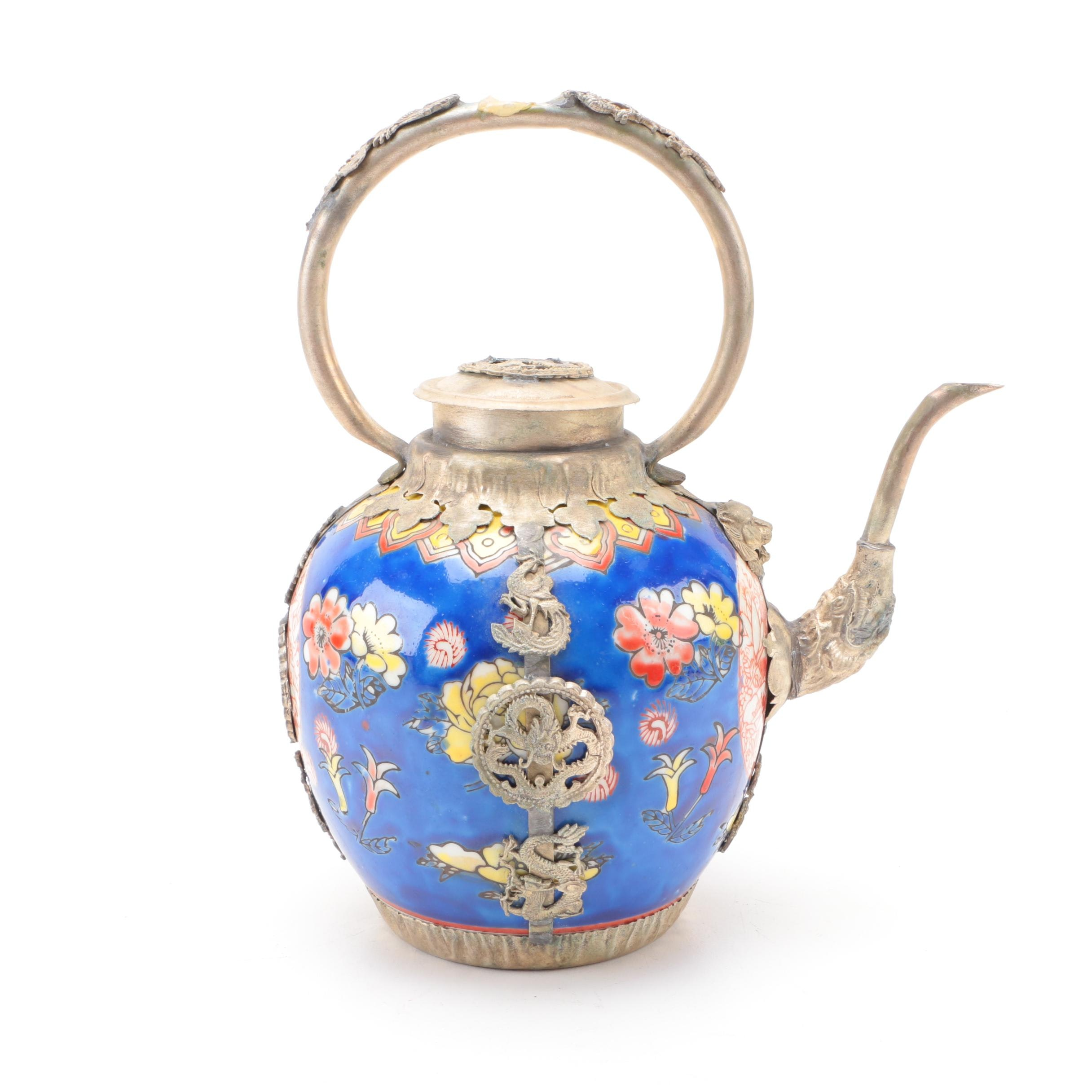 Chinese Brass Plate and Ceramic Teapot