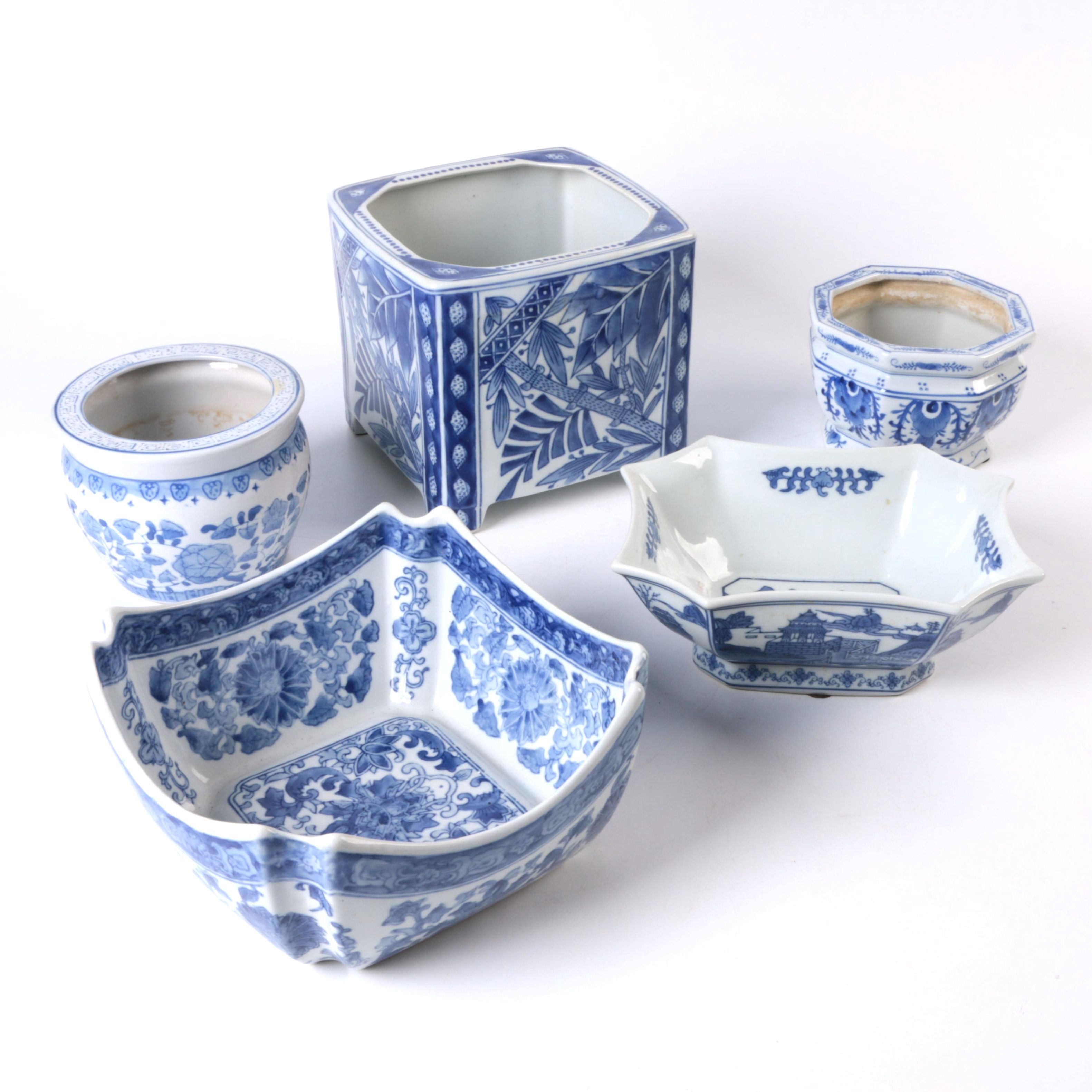 Chinese and Chinese Inspired Blue and White Bowls and Planters