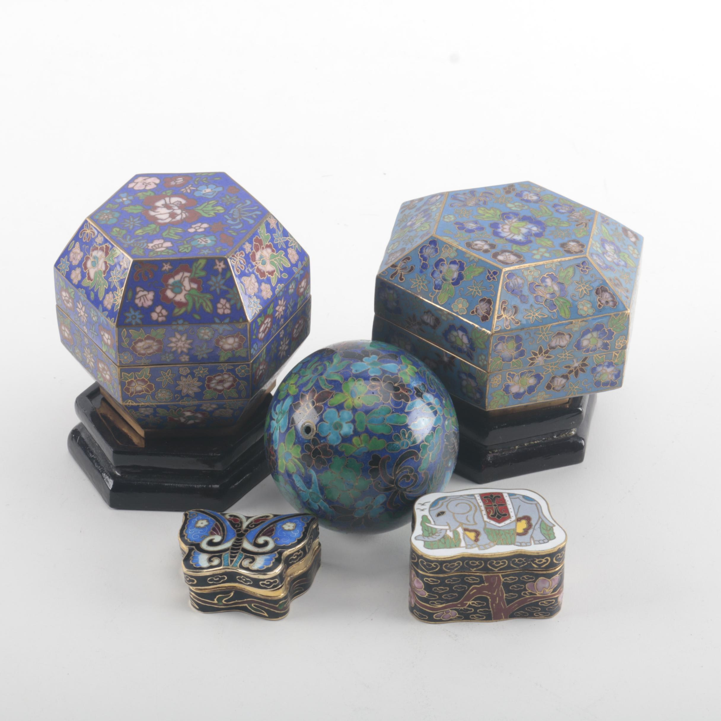 Chinese Cloisonné Trinket Boxes and Decorative Items