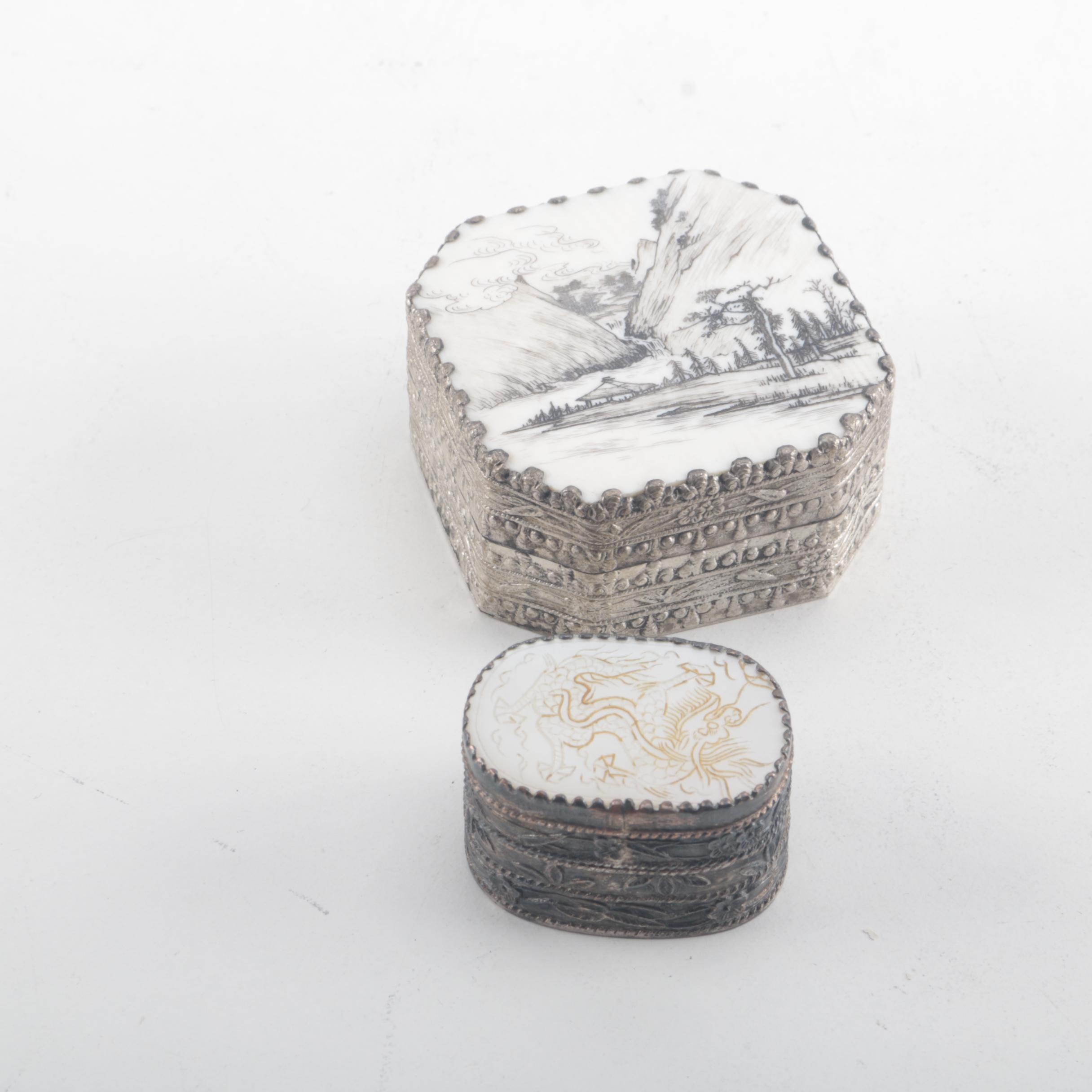 East Asian Silver Plated Trinket Boxes
