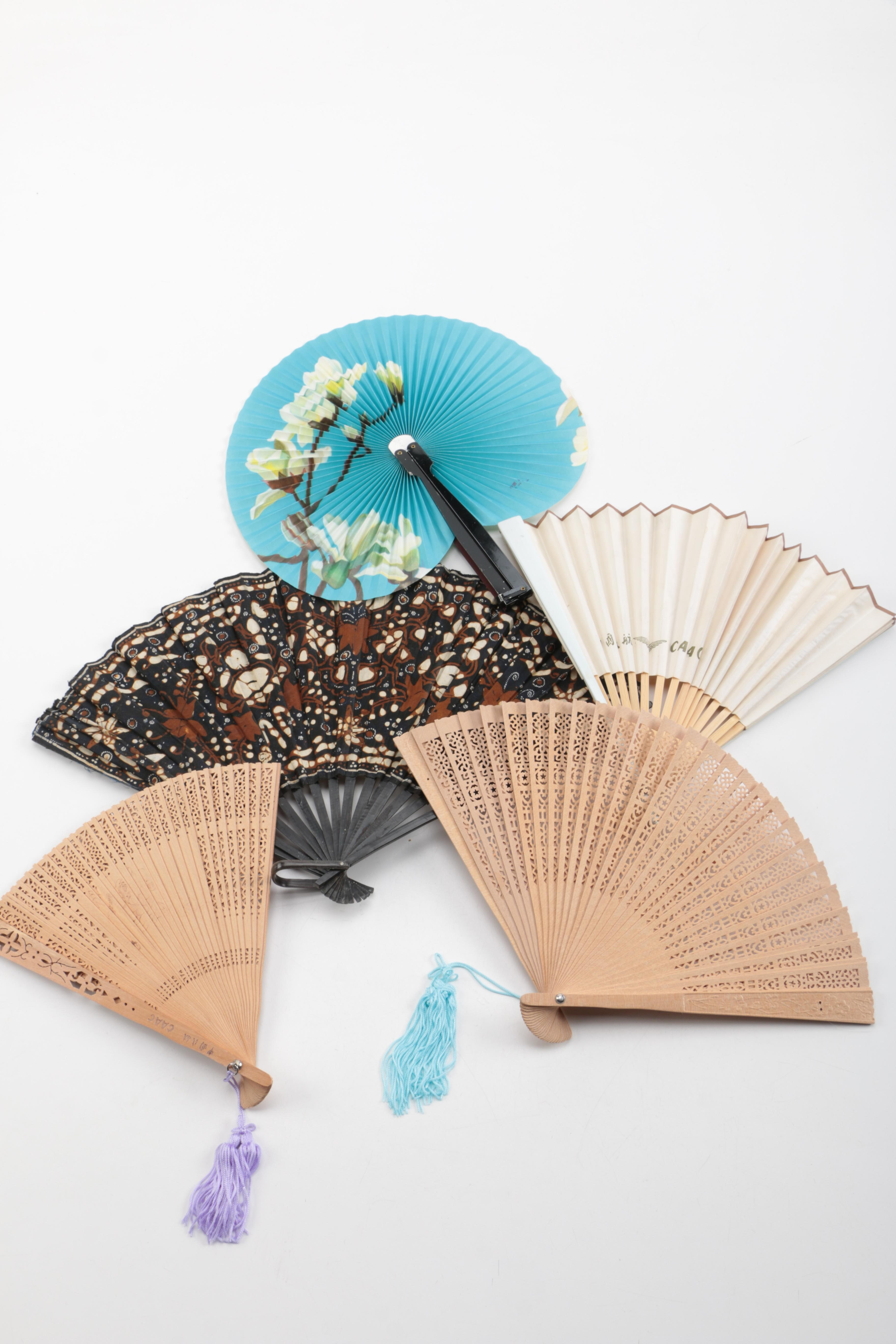 Five Wood and Cloth or Paper Hand Fans