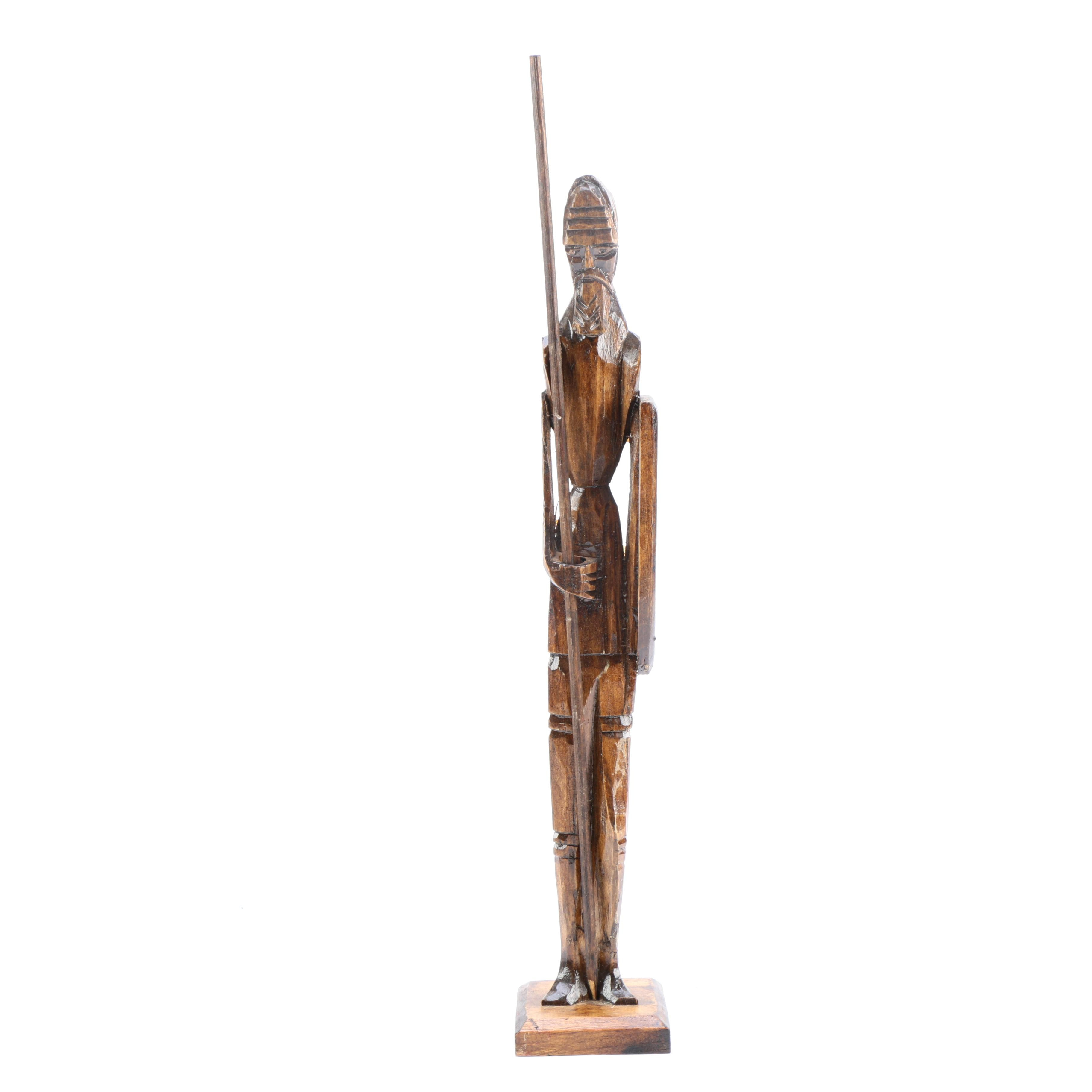 Carved Wooden Knight Figure