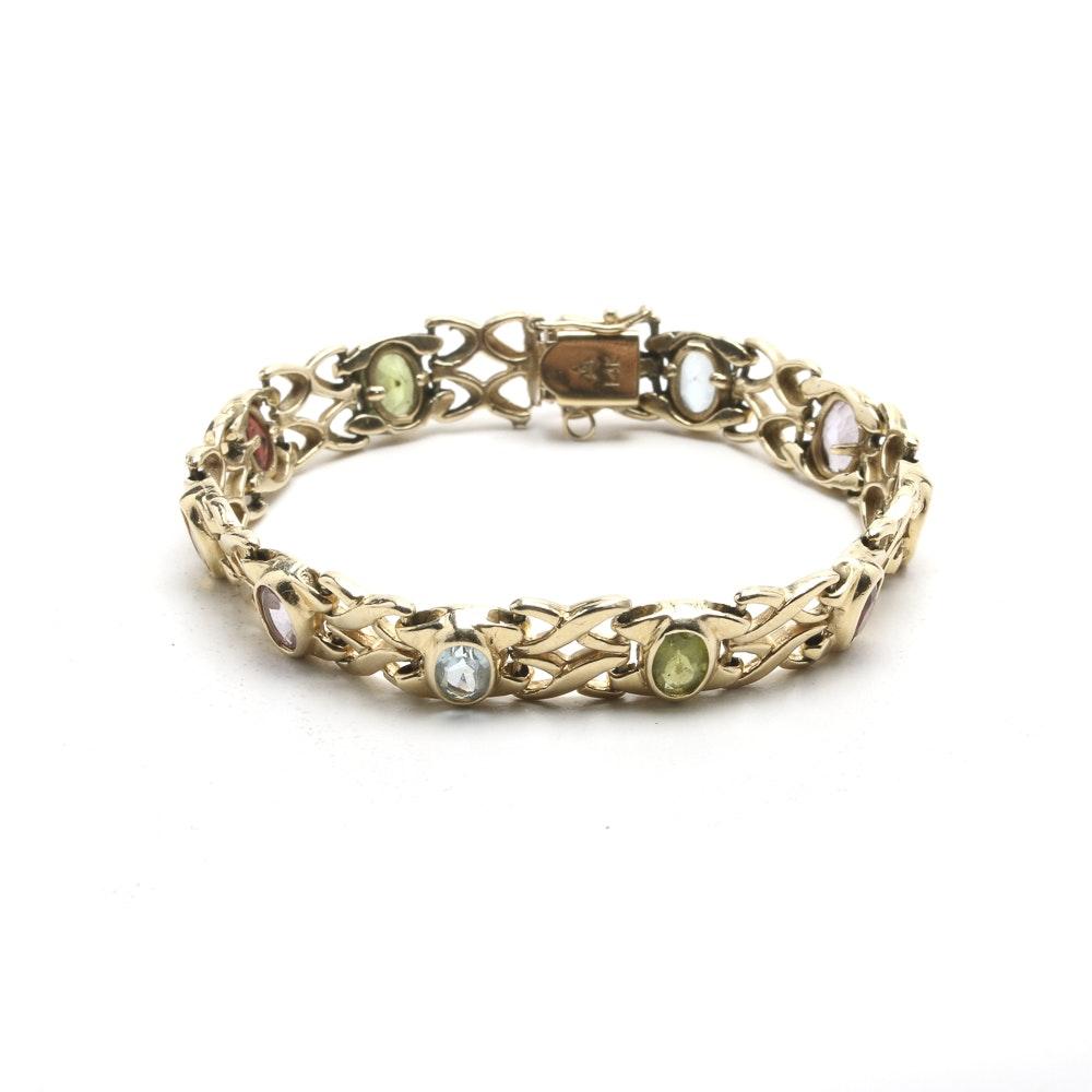 14K Yellow Gold Bracelet with Various Gemstones
