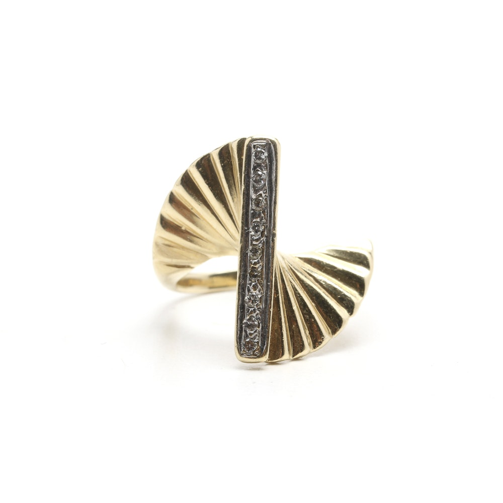 10K Yellow Gold Contemporary Ring with Diamonds