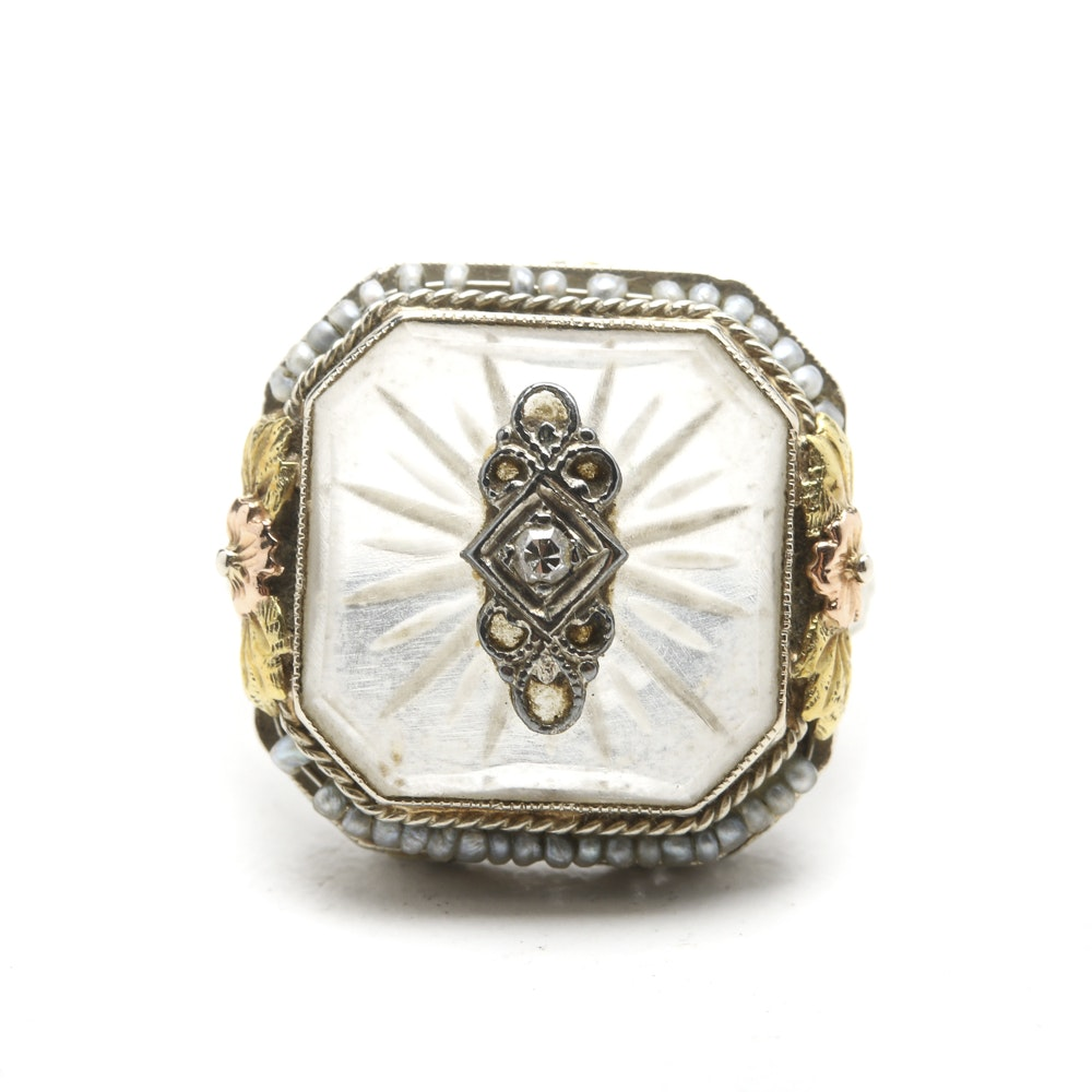 Circa 1940 14K White Gold Ring with Diamond, Quartz and Pearls