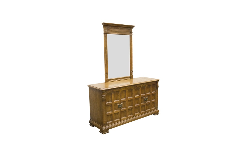 """Vintage Oak Dresser with Mirror from """"Guildhall"""" by Drexel"""