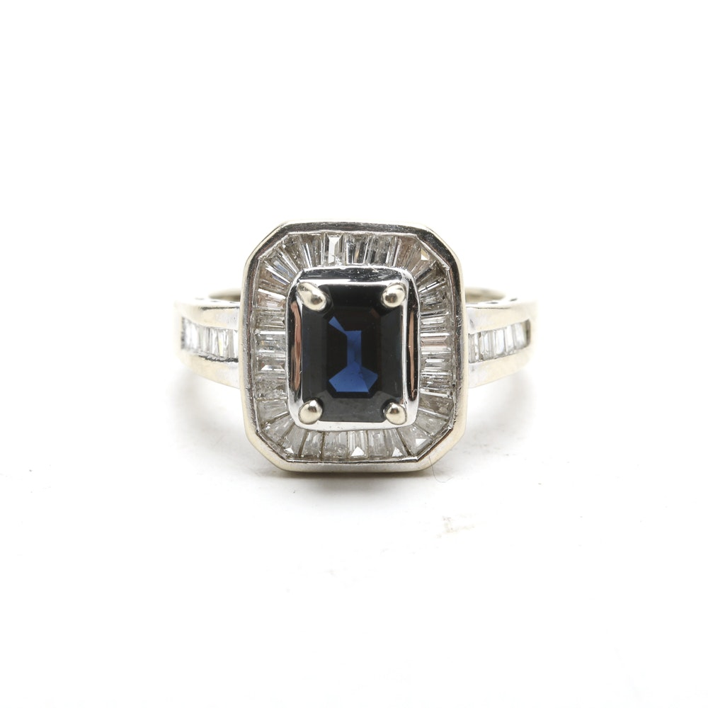 14K White Gold Ring with Baguette Diamonds and Deep Blue Sapphire