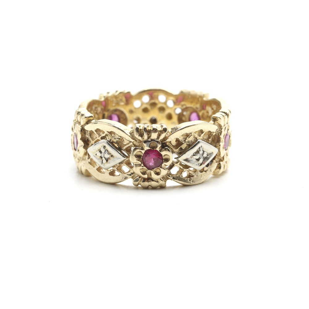14K Gold Synthetic Ruby and Diamond Ring