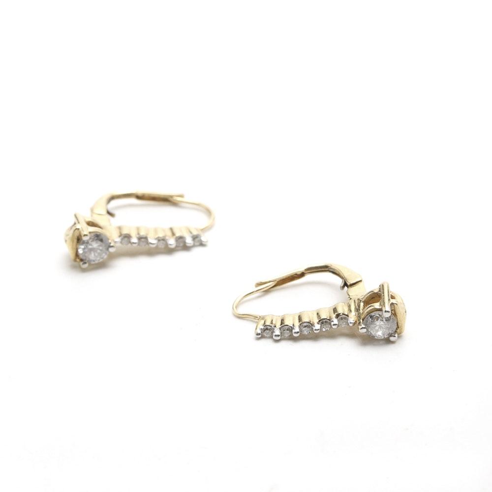 10K Yellow Gold and Diamond Earrings