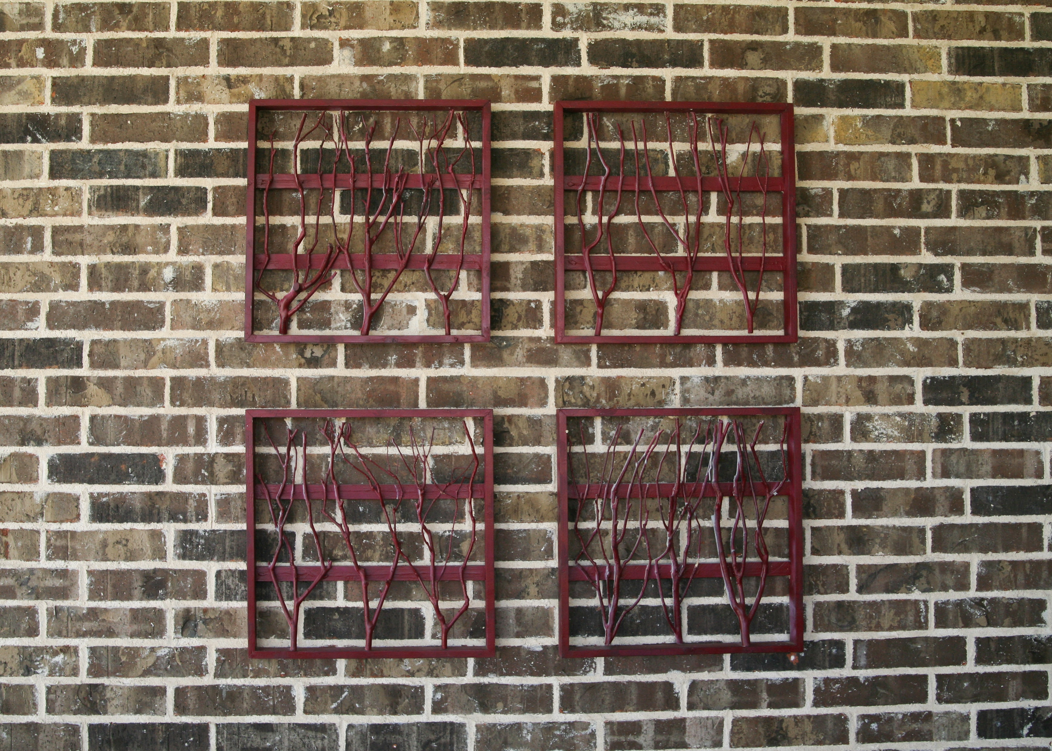 Four Red Wooden Wall Art Pieces