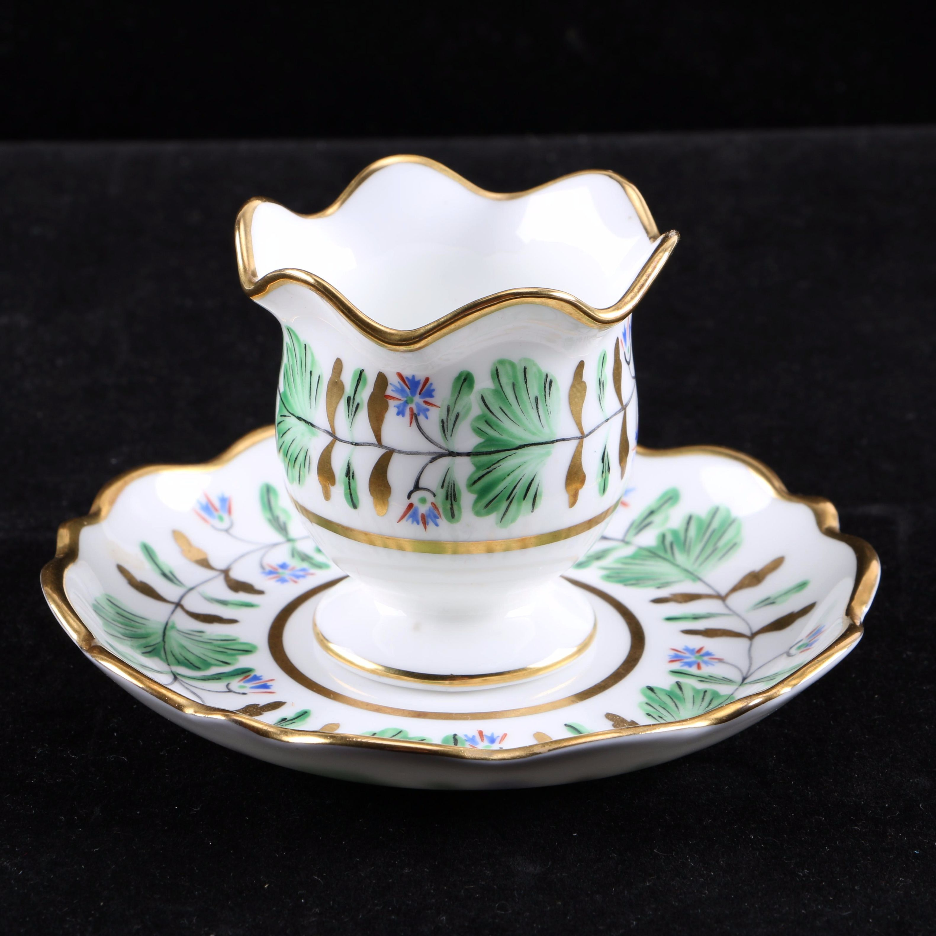 """Hammersley & Co. for Tiffany & Co. """"Palmetto"""" Egg Cup and Saucer"""