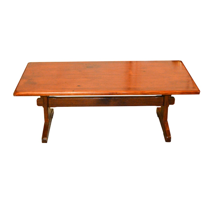 Sensational Pine Trestle Coffee Table By Ethan Allen Gmtry Best Dining Table And Chair Ideas Images Gmtryco
