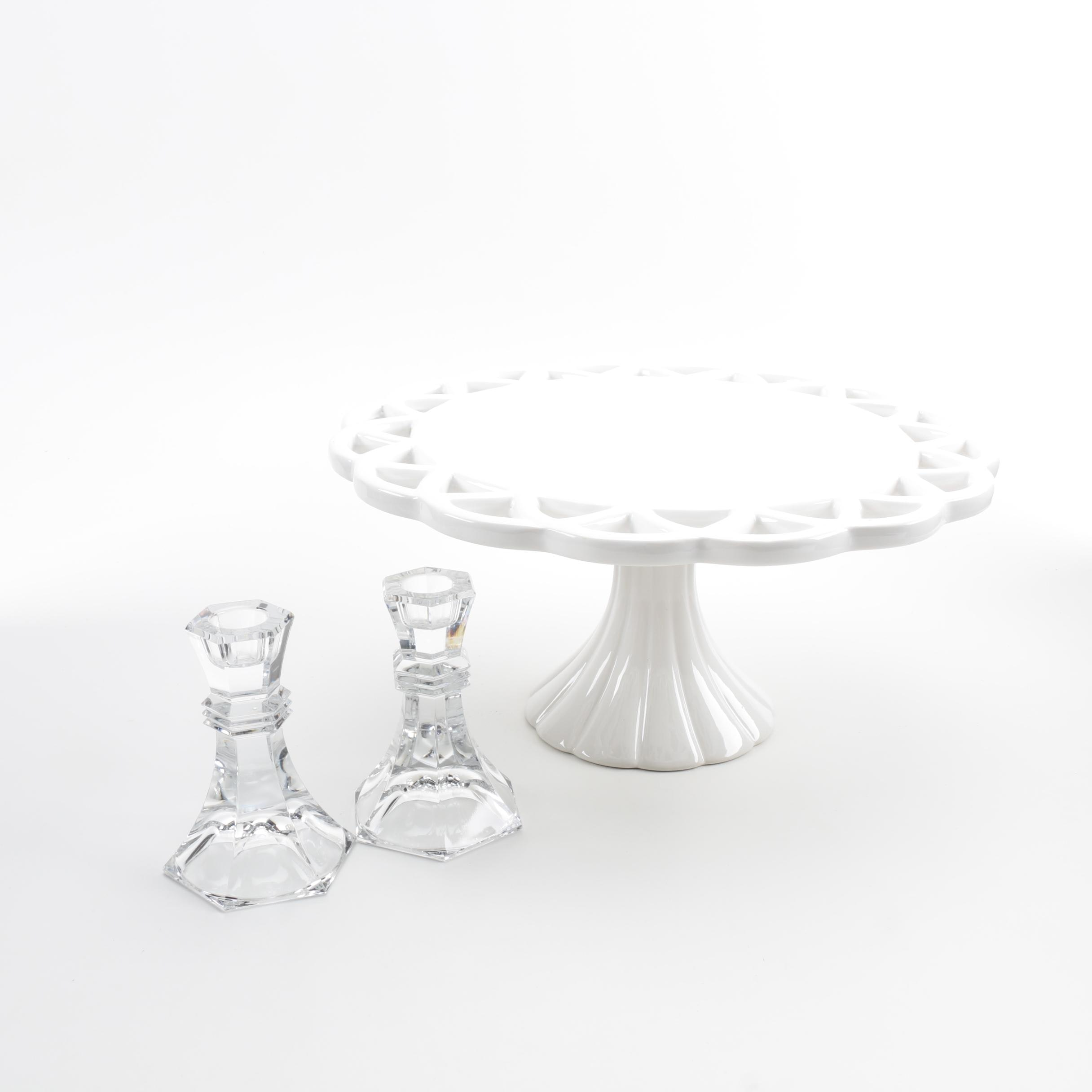 Cake Plate and Crystal Candlestick Holders