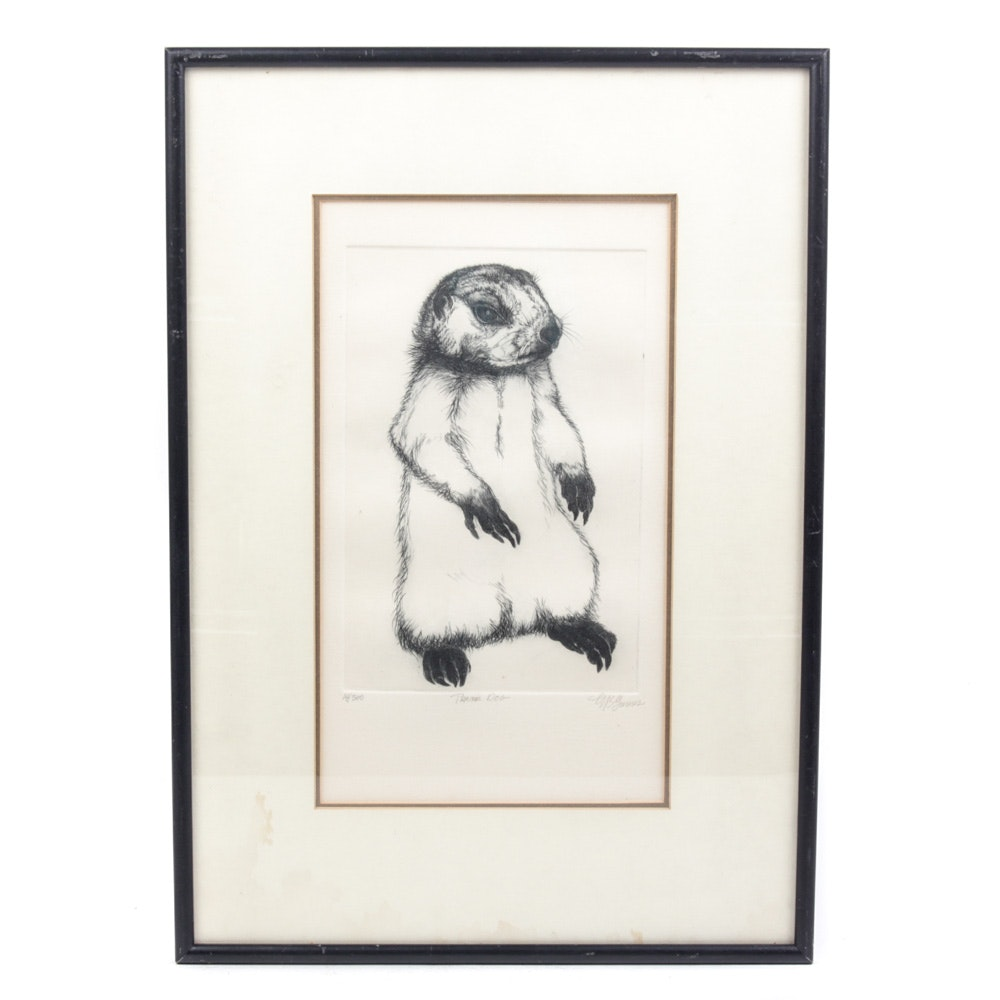 "Limited Edition ""Prairie Dog"" Etching by McGurnes"