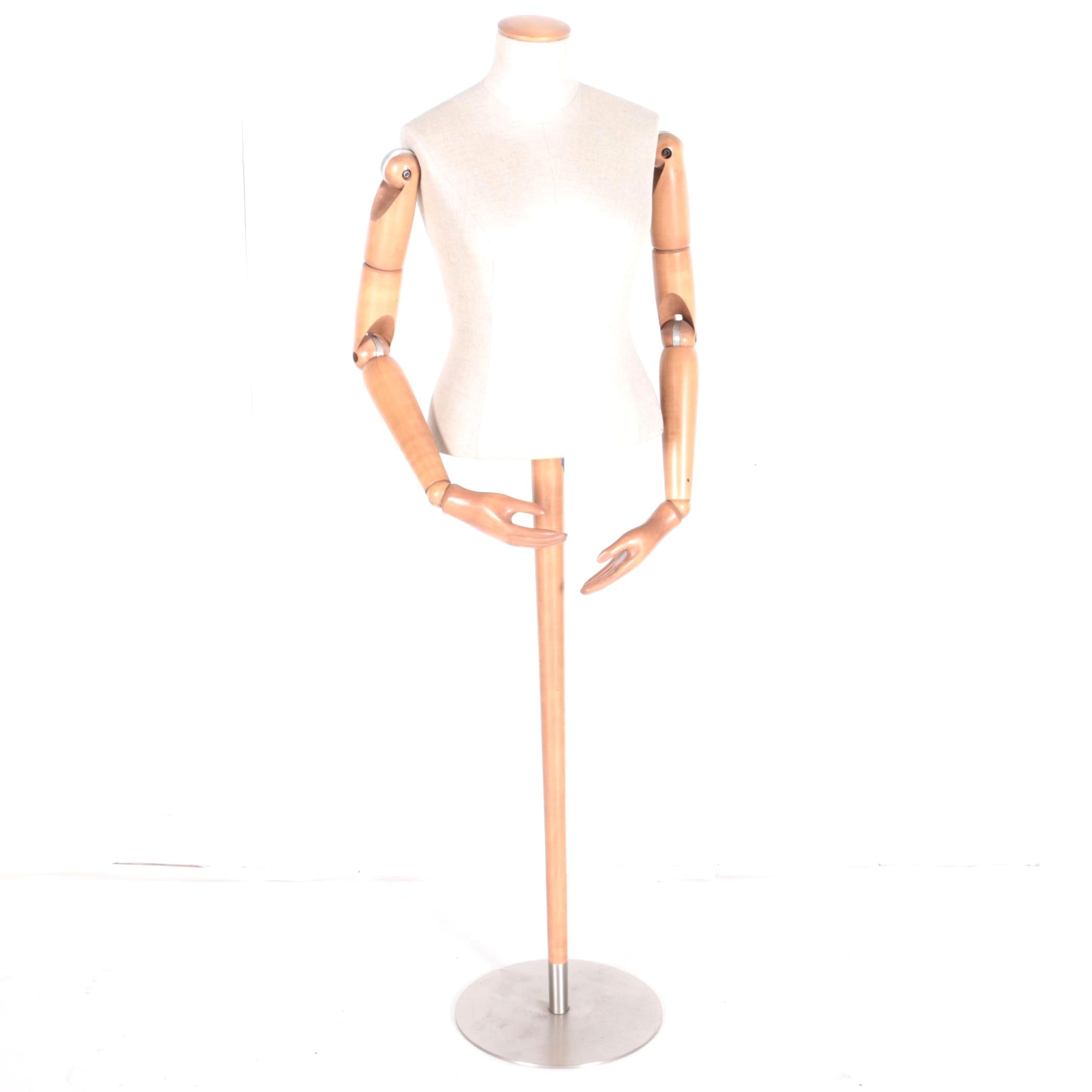 Cloth Mannequin with Wooden Adjustable Arms