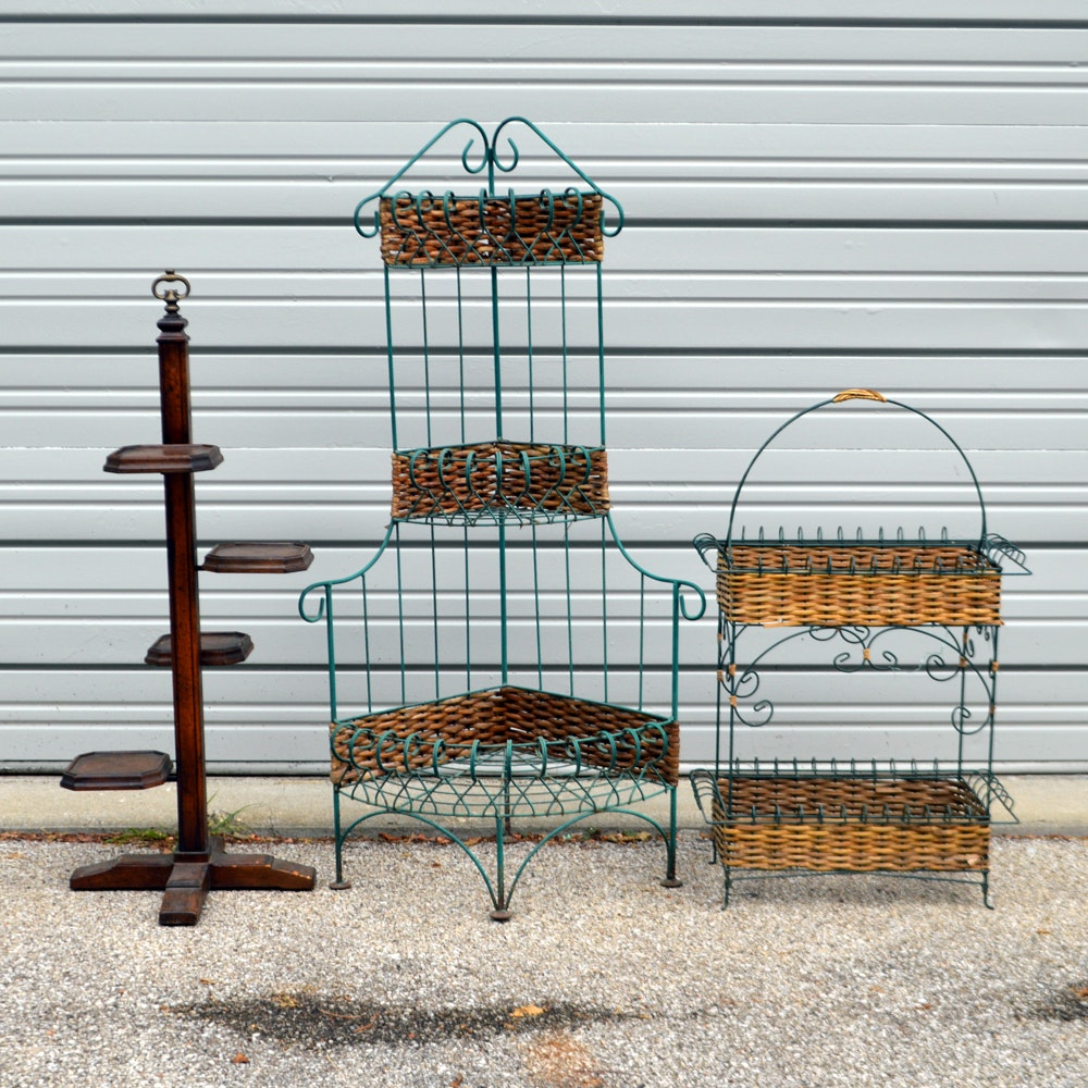 Wicker, Wire, and Wood Plant Stands