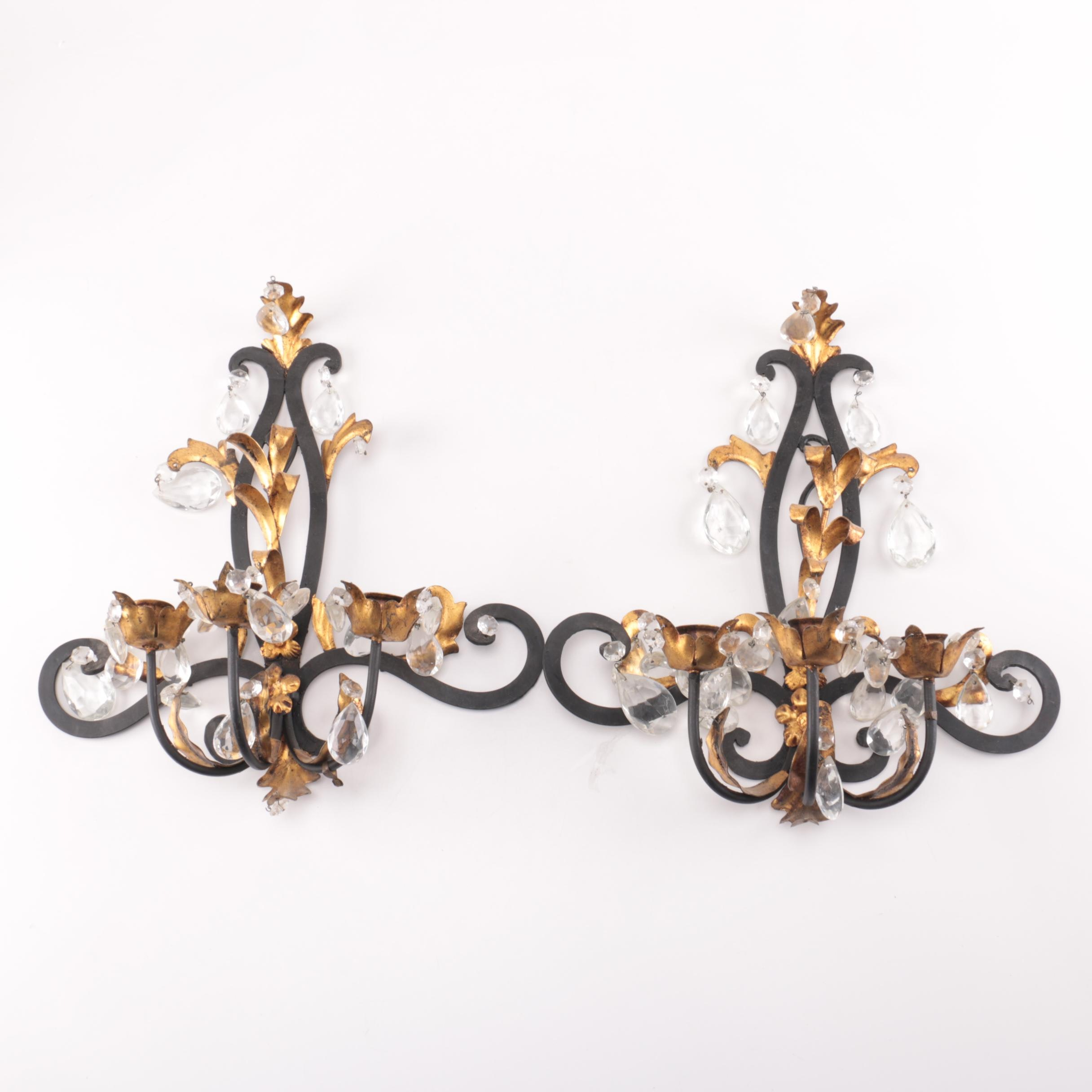 Wrought Iron and Glass Wall Sconces