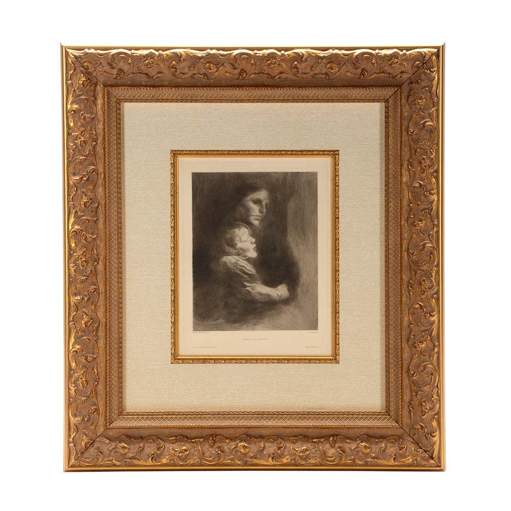 """Eugène Carrière Original Drypoint Etching """"Mère et Enfant"""""""