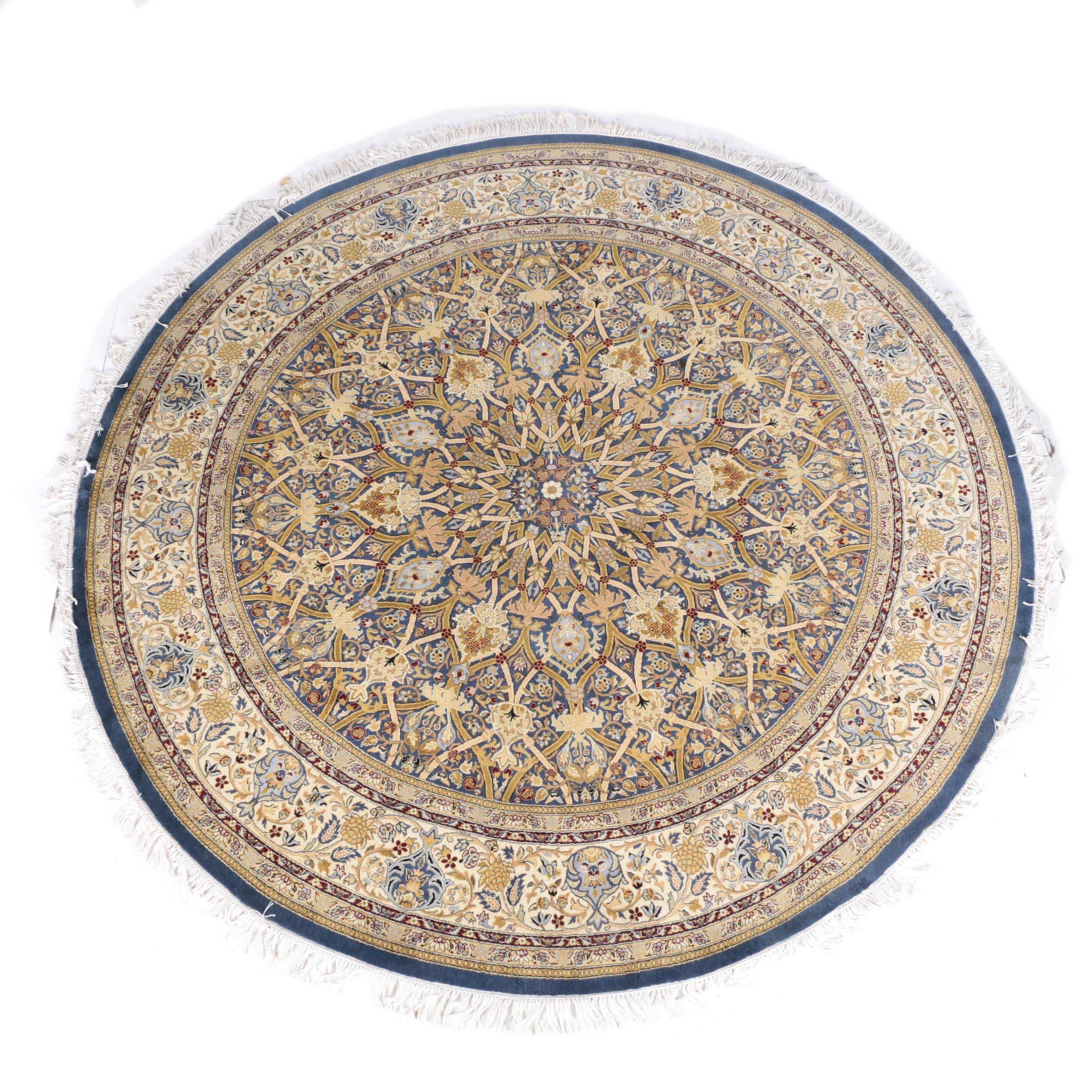 Hand-Knotted Qom Round Area Rug