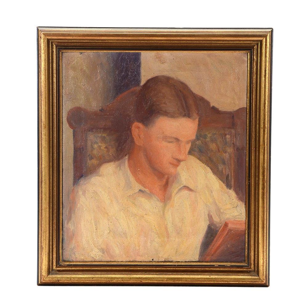 Vintage Oil on Canvas Portrait of a Man