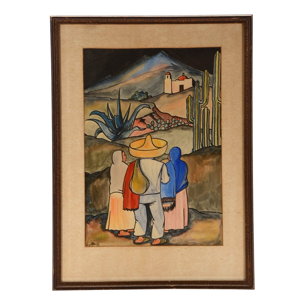 Jorge A. Murillo Original Watercolor Mexican Folk Art Painting