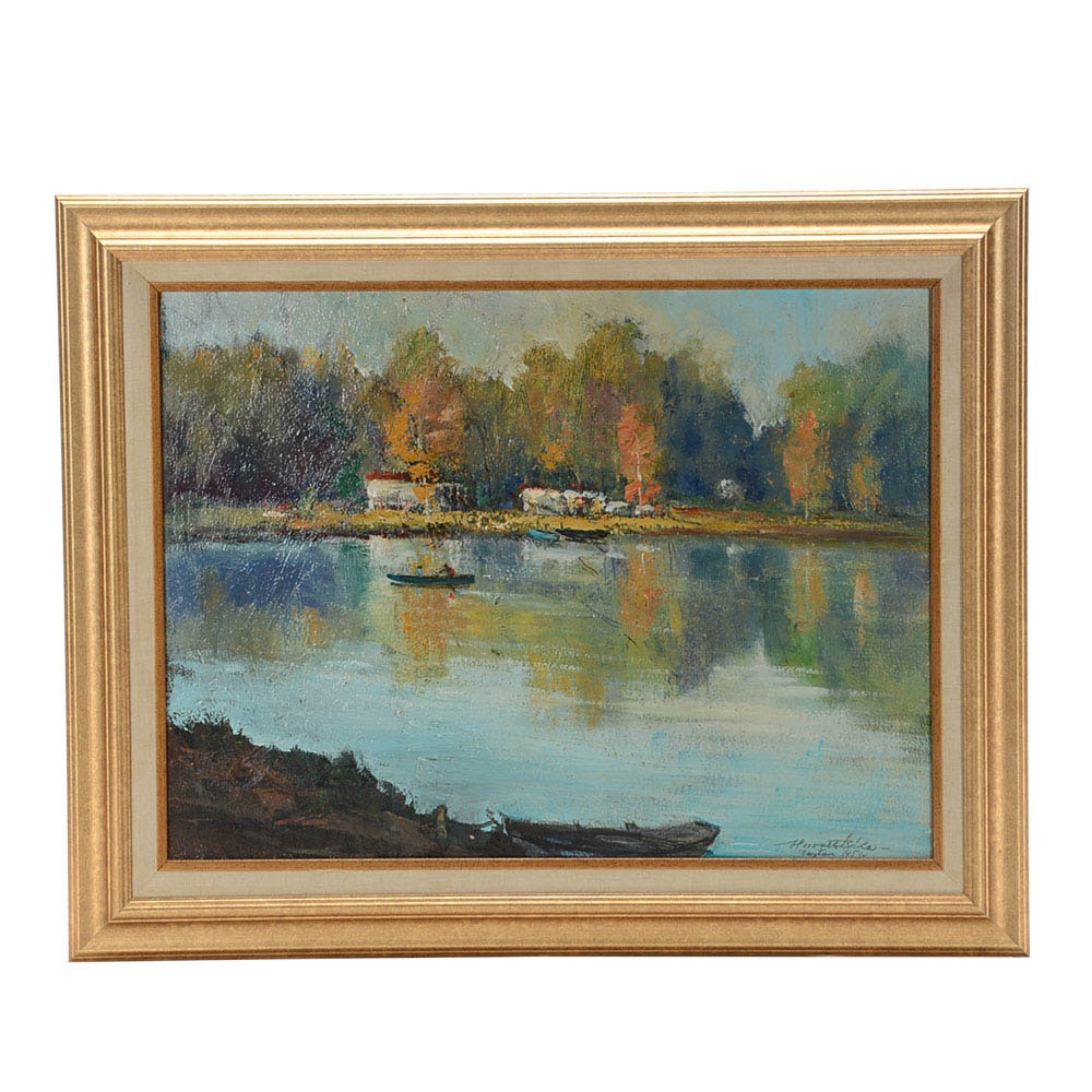 Original 1951 Oil Painting on Board of a Lakeside Campground